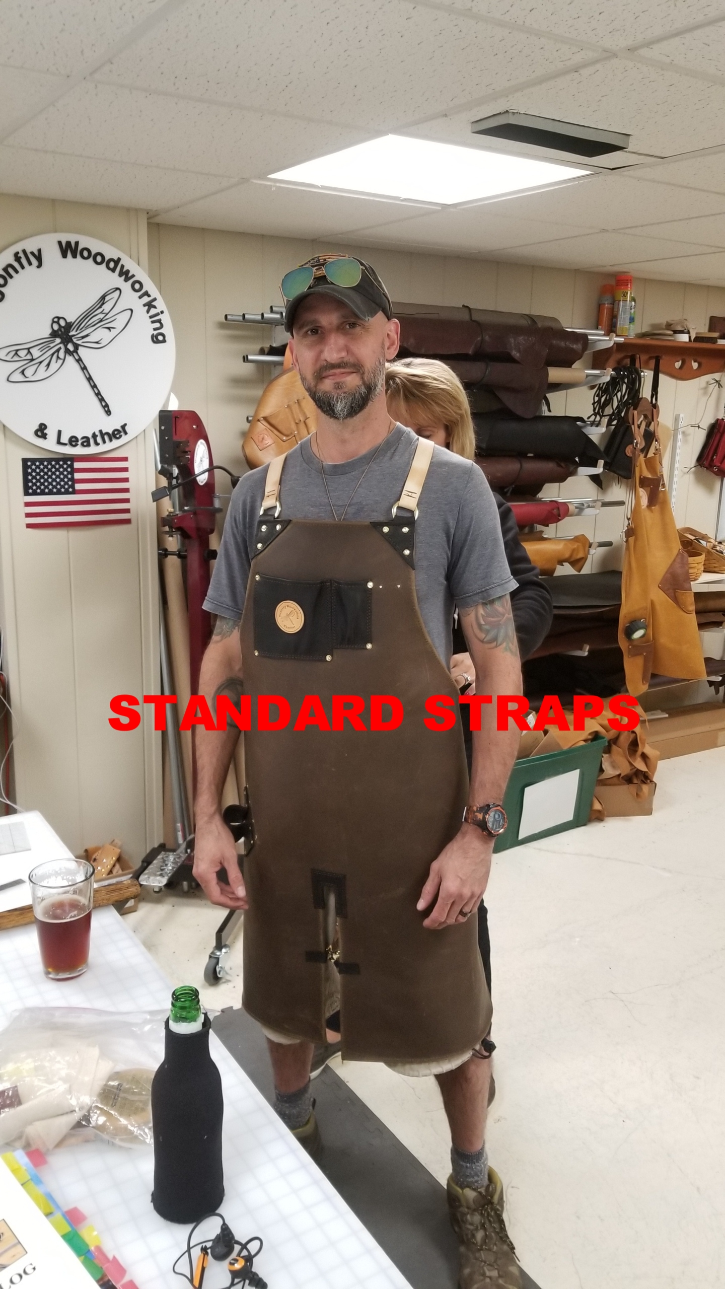 """leather apron - """"Forged in Fire"""" CHAMPION, Tommy Matthews Custom Crooked River Forge.... Forge / Blacksmith Split Leg Leather Apron"""