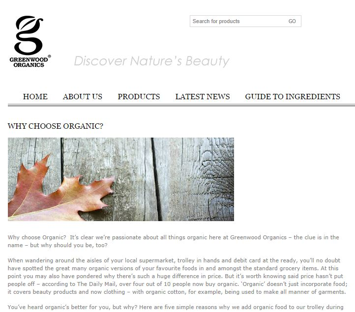 Above: Blog for natural skincare company, Greenwood Organics - please click on the image to view the full piece.