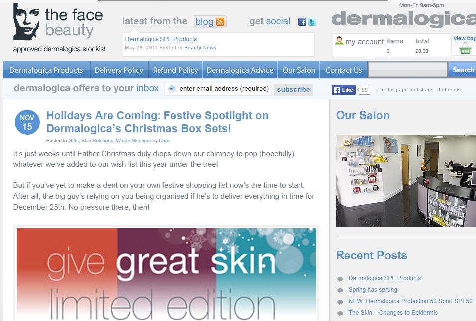 Blog for Dermalogica skincare stockist and beauty specialists, The Face Beauty. Click the image to read the full piece.