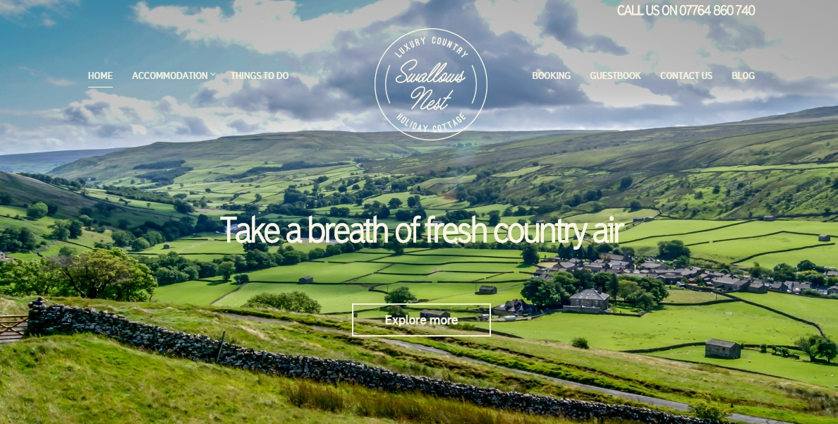 Above: Copy for the brand new website of luxury Yorkshire holiday accommodation, Swallow's Nest. Click on the image to view the site.