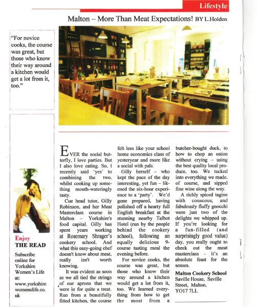 Yorkshire Women's Life Magazine, Malton Cookery School Feature, Summer 2017