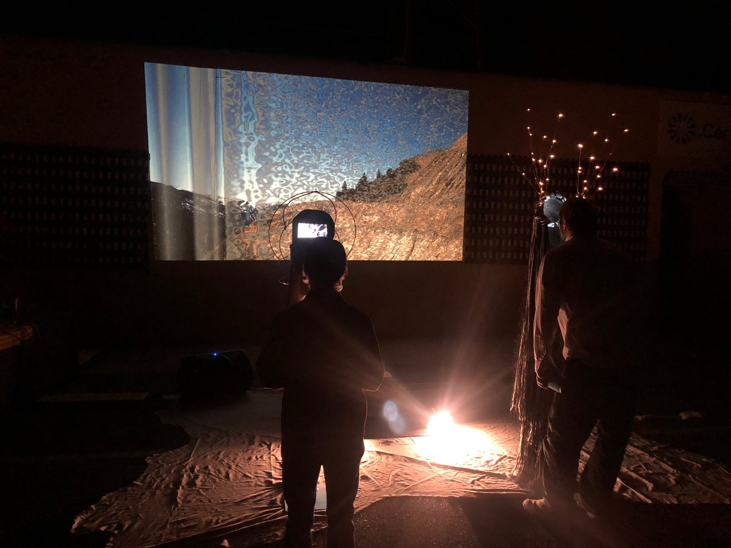Coherence/Interference: And So We Sing The Land.  Experience-based multi-media engagement and social performance. PASEO Project Taos NM, 2018. Collaborative work between Cannupa Hanska Luger, Dylan McLaughlin and Ginger Dunnill