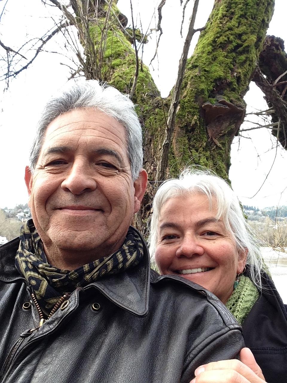 Pax and Jill taking a break near the Wilamette River in Portland Oregon.