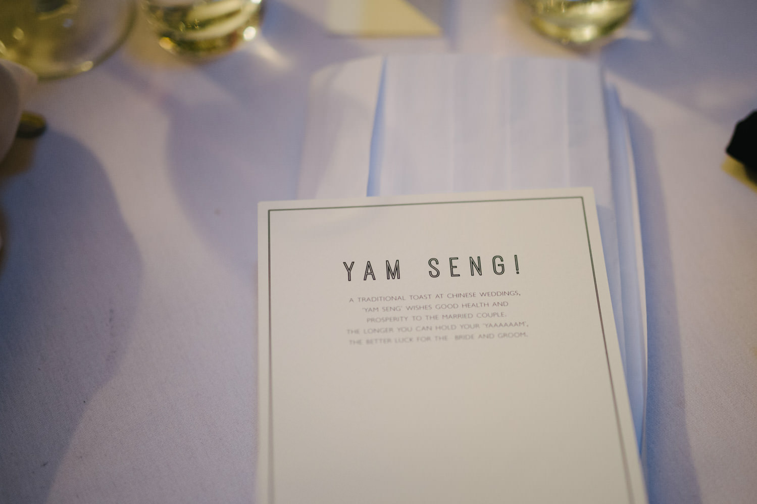 Yam Seng wedding toast