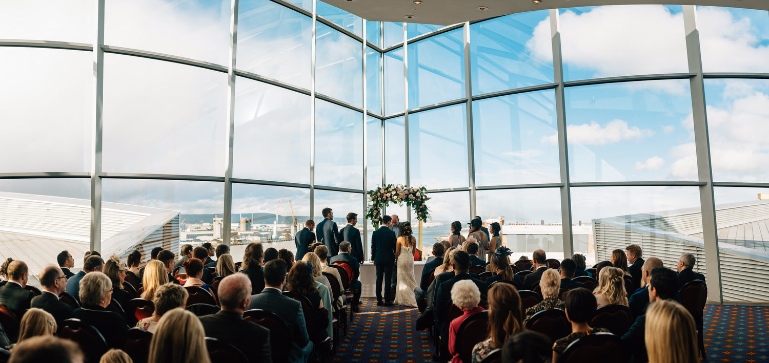 You're treated to this amazing view with a Titanic Belfast wedding ceremony
