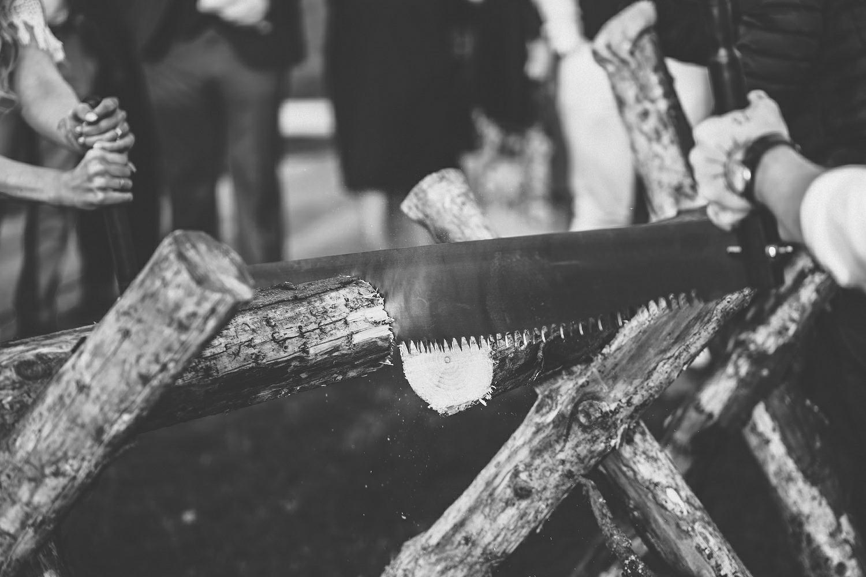 Traditional German Log Cutting Ceremony. Log Sawing wedding tradition Germany