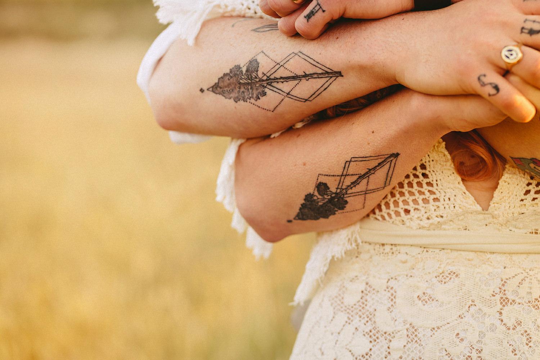 Matching wedding tattoos design