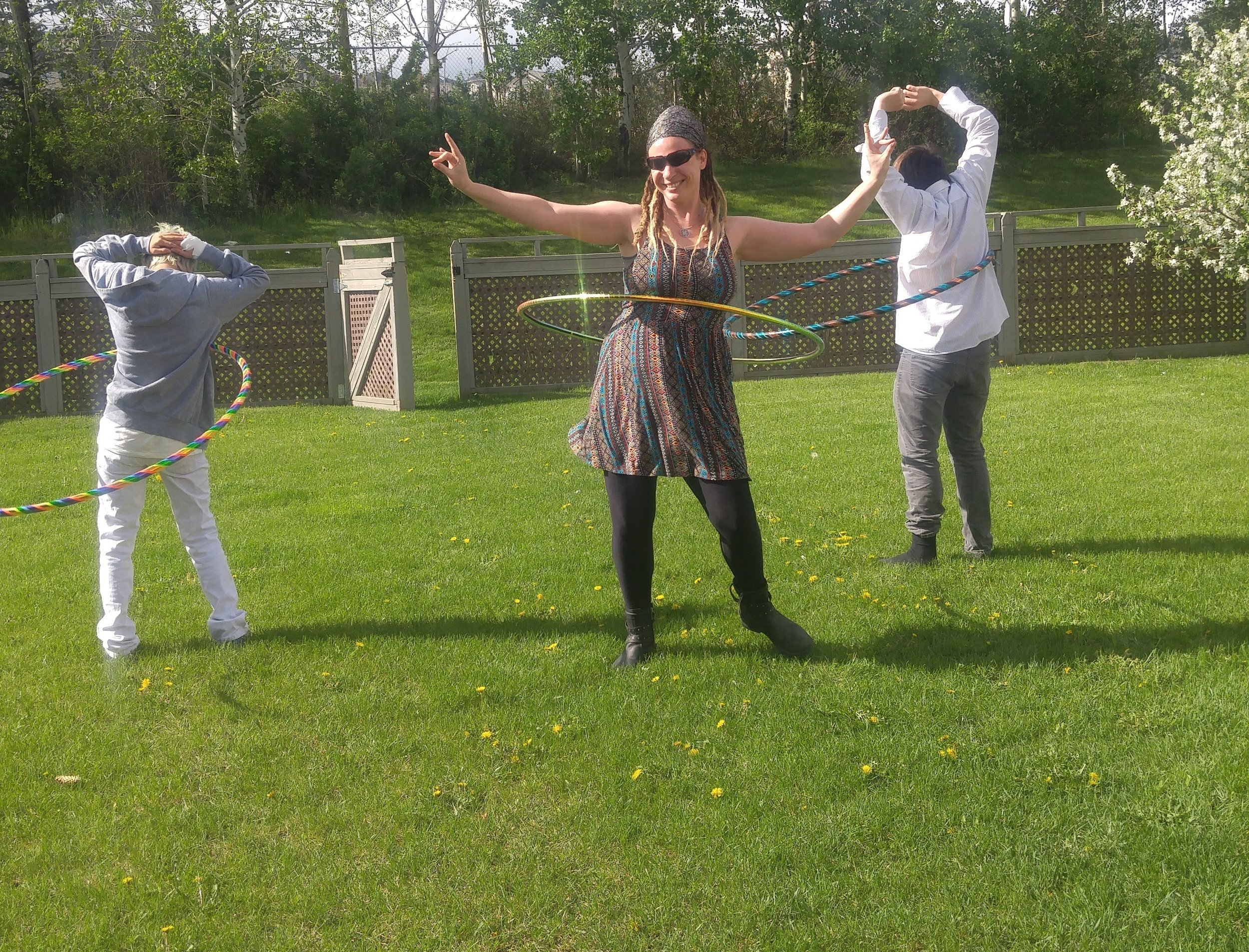 teens hula hooping therapy