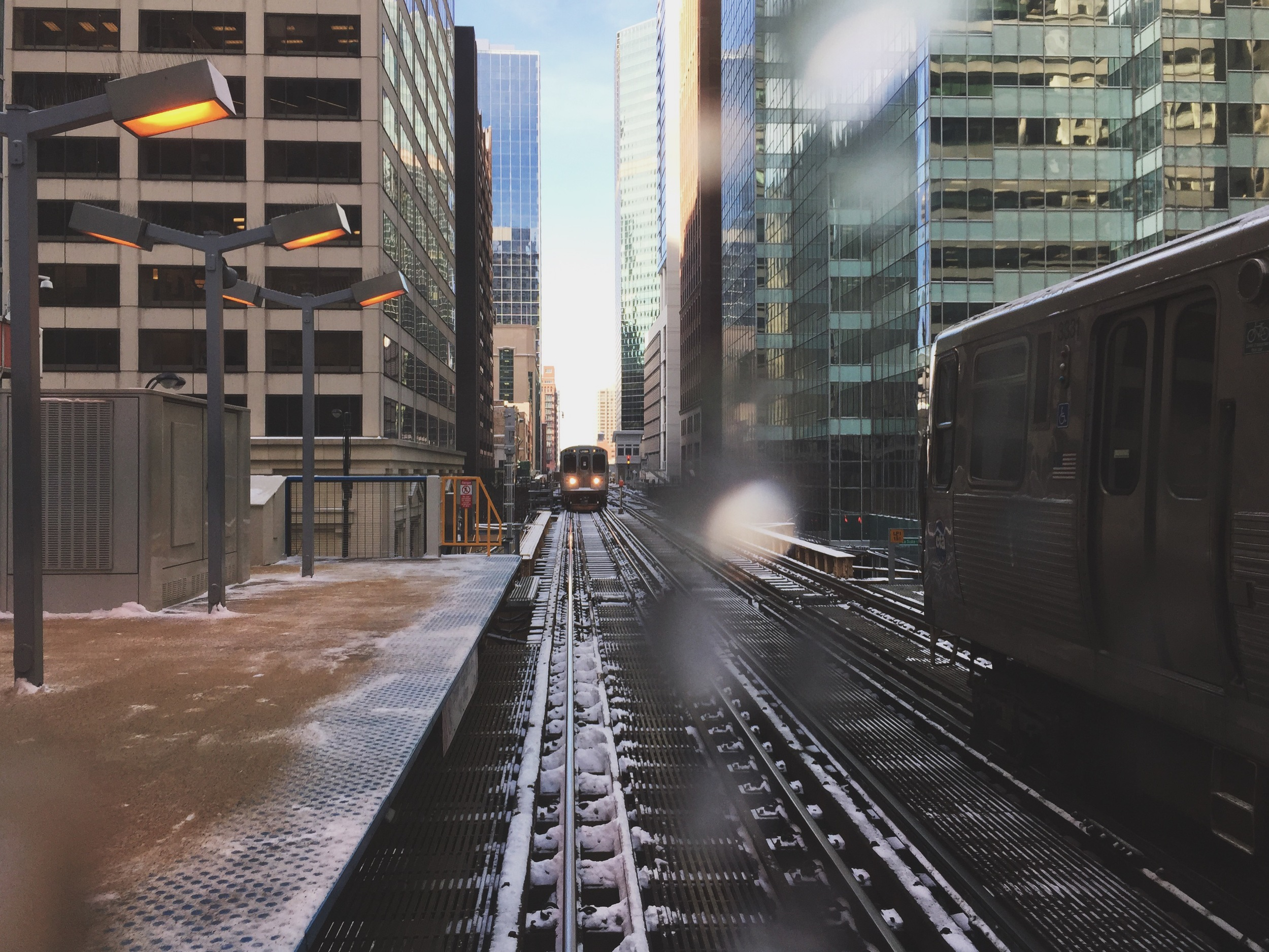Icy el tracks, downtown Chicago.