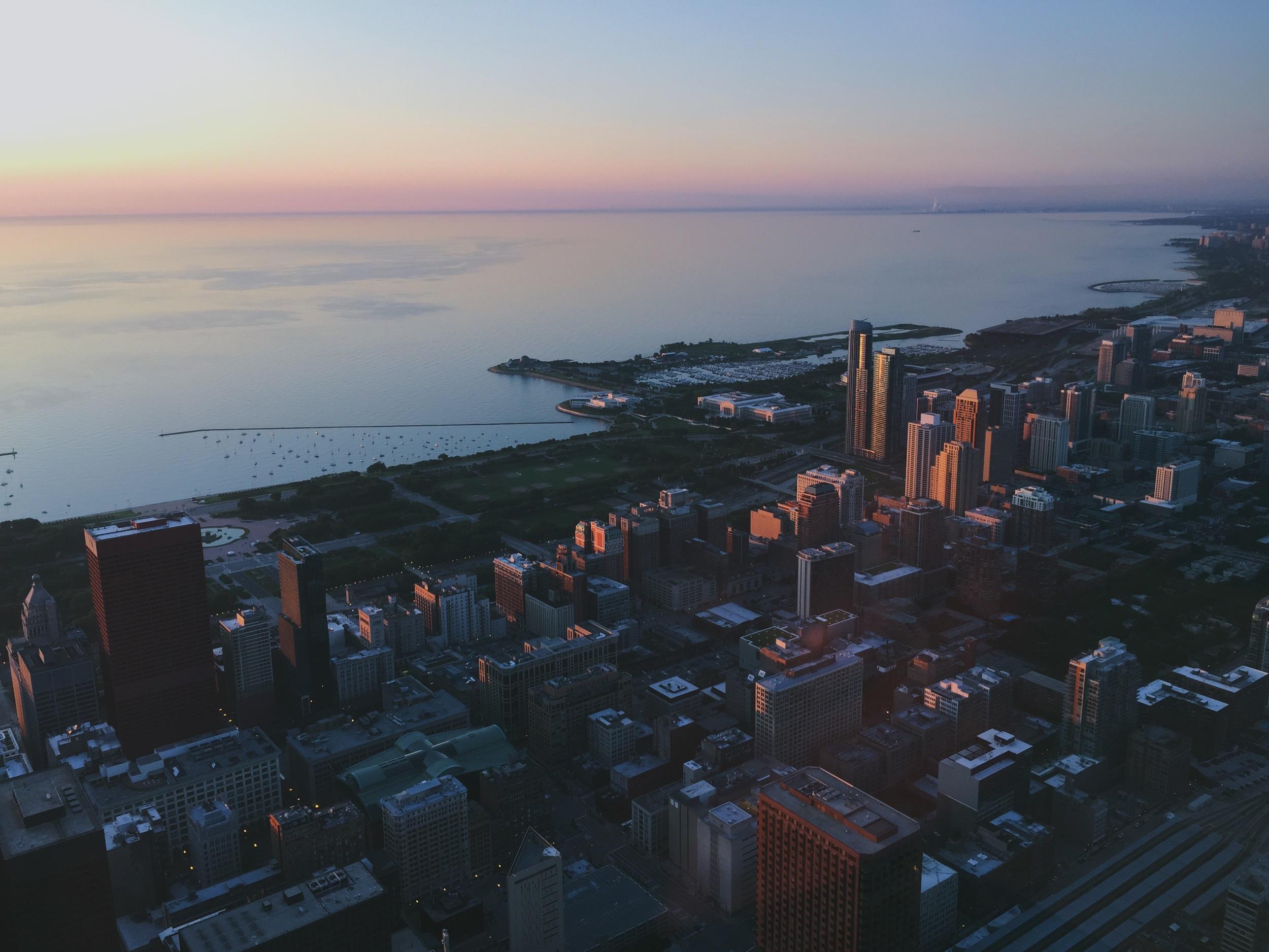 Southeast view, via Skydeck Chicago.