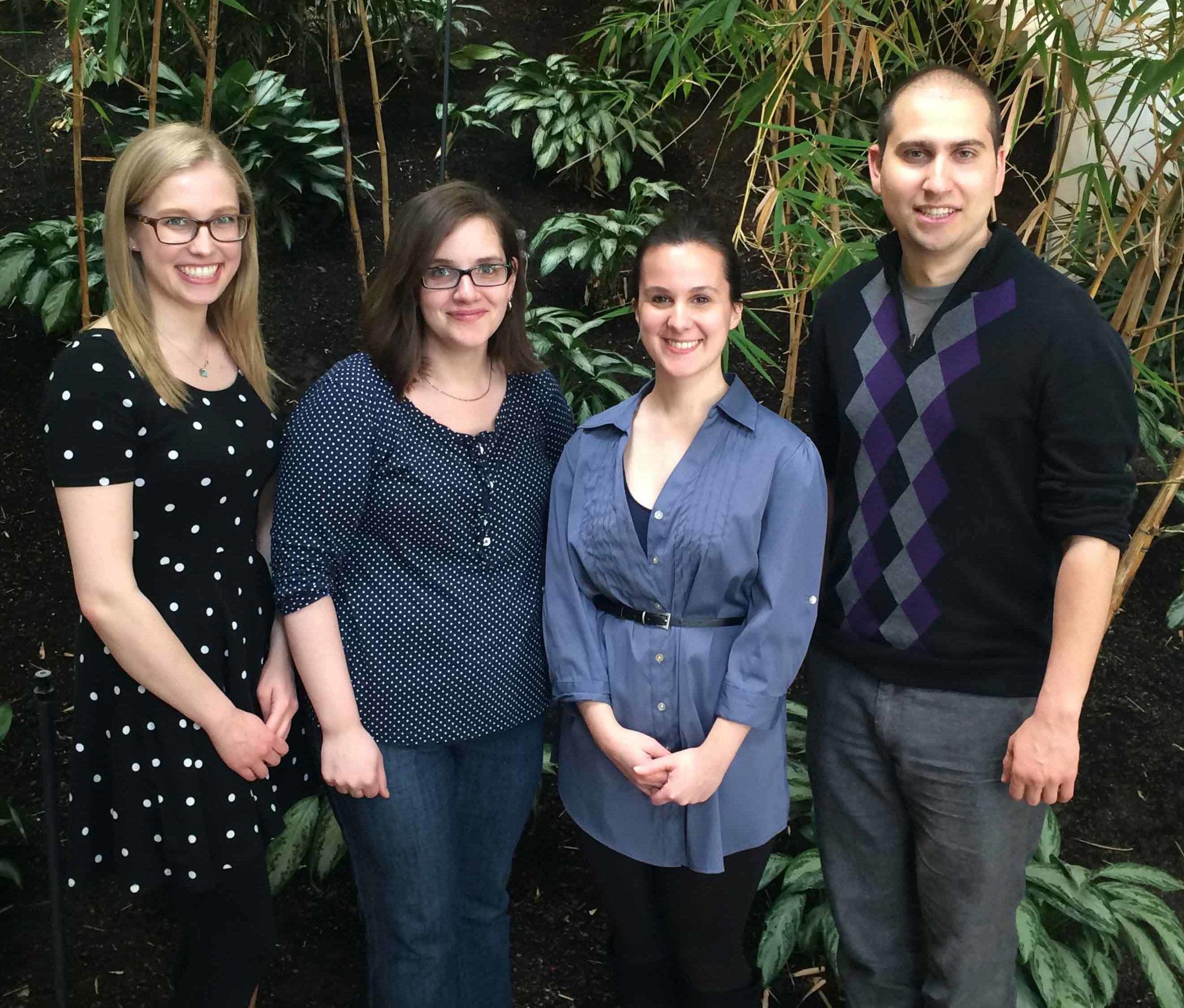 From left to right: Elizabeth Polvi (VP External), Sabrina Stanley (President), Amanda Veri (VP Internal), Eric Chapman (VP Student Life)