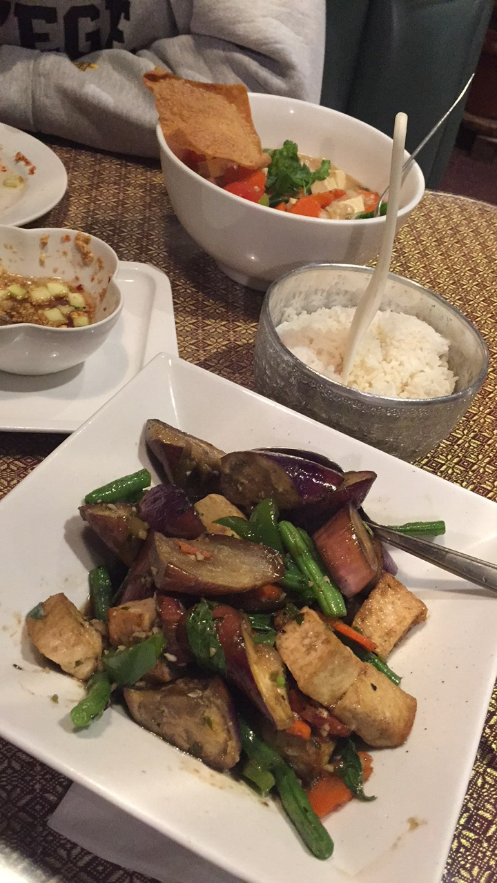 tofu eggplant stir-fry for me, something else with tofu for dad (he orders tofu because he loves me).