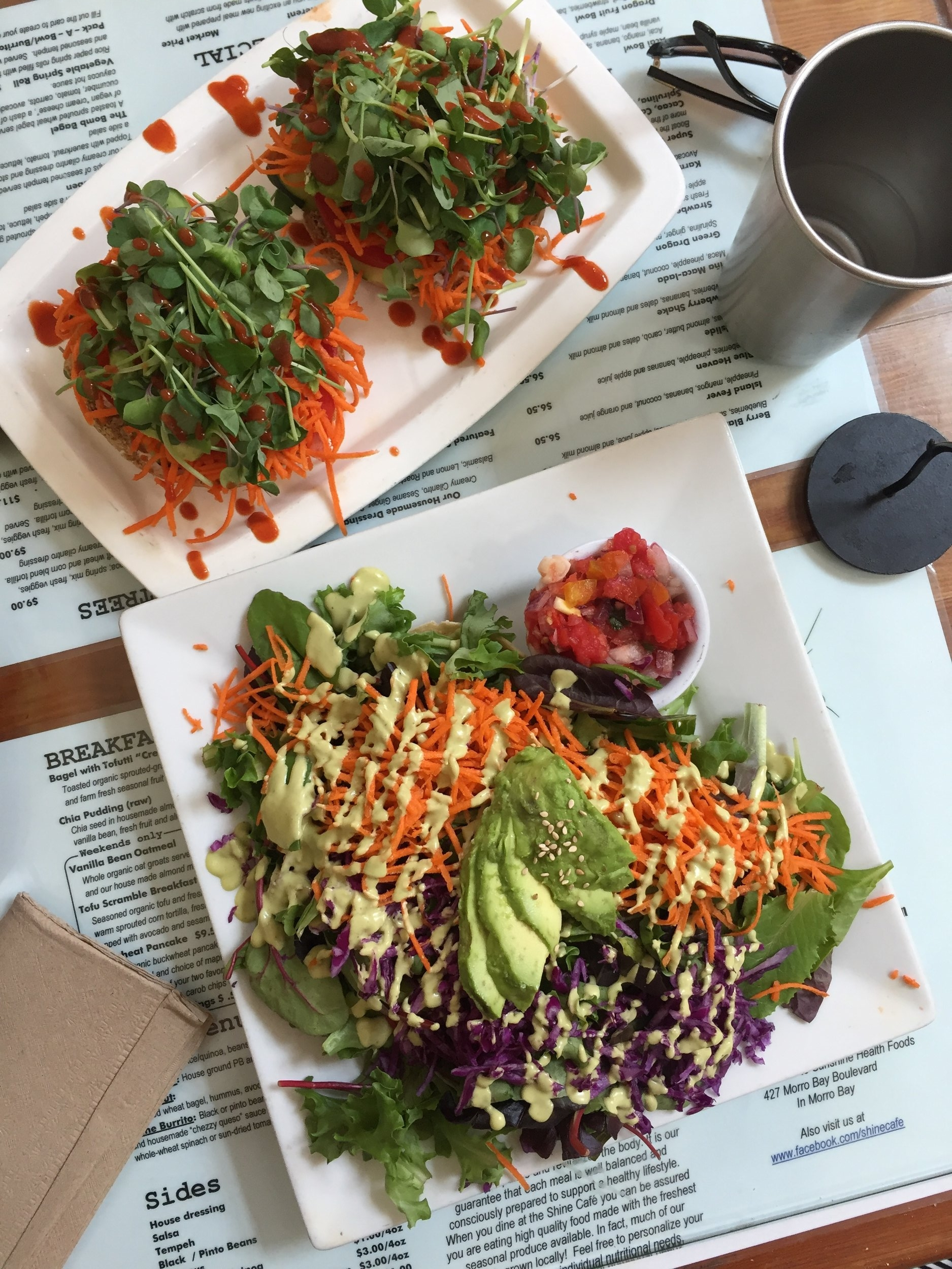 lunch with dad @  Shine Cafe  - best vegan place near me! a sprouted grain bagel with tofu cream cheeze + veg for dad & a taco with tempeh, quinoa, greens & avo for me (its buried, but I was cool with it).