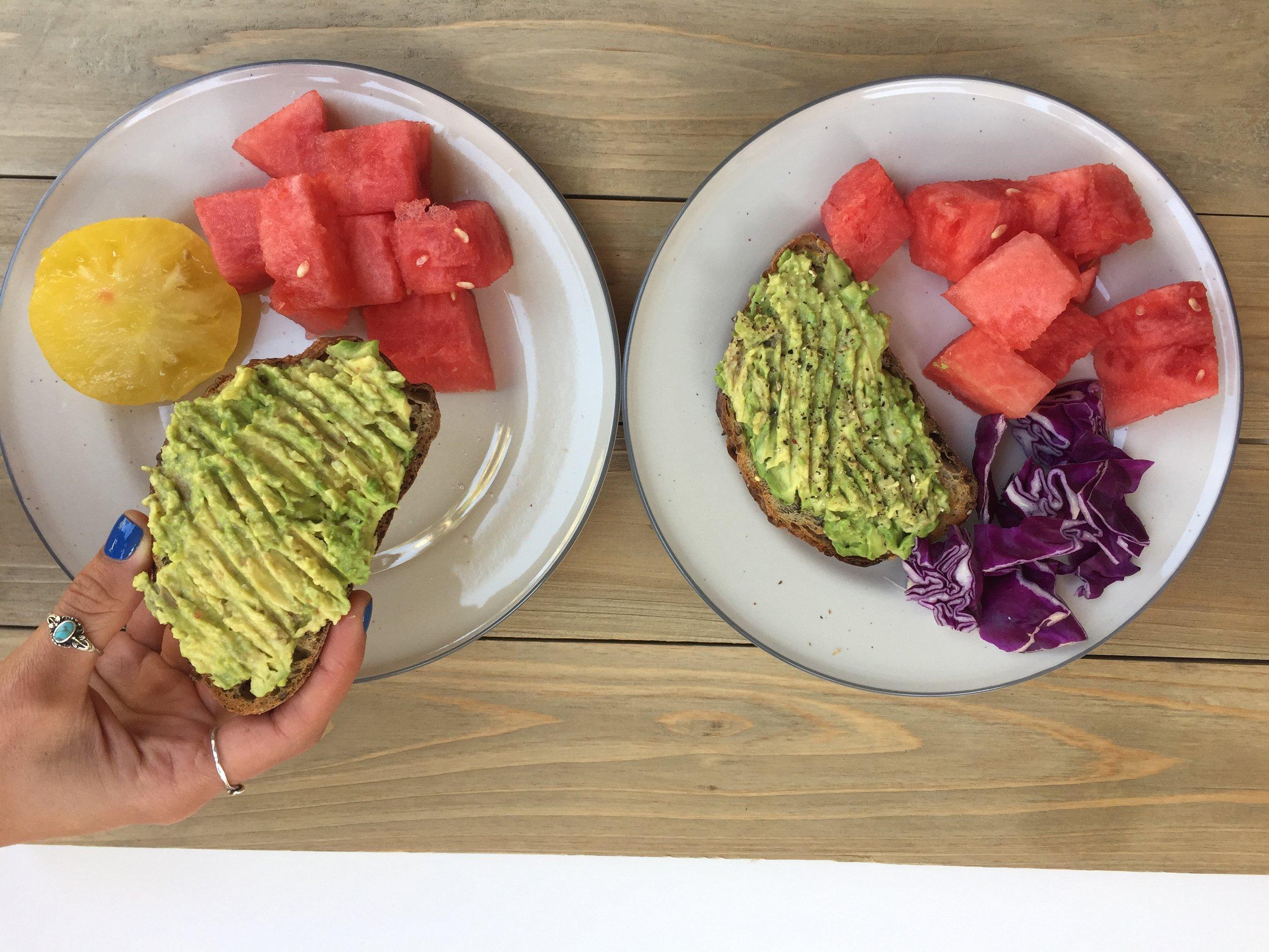 avocado toast + fresh watermelon + purple cabbage + homegrown yellow tomato, all shared with @sweatysweetpotato