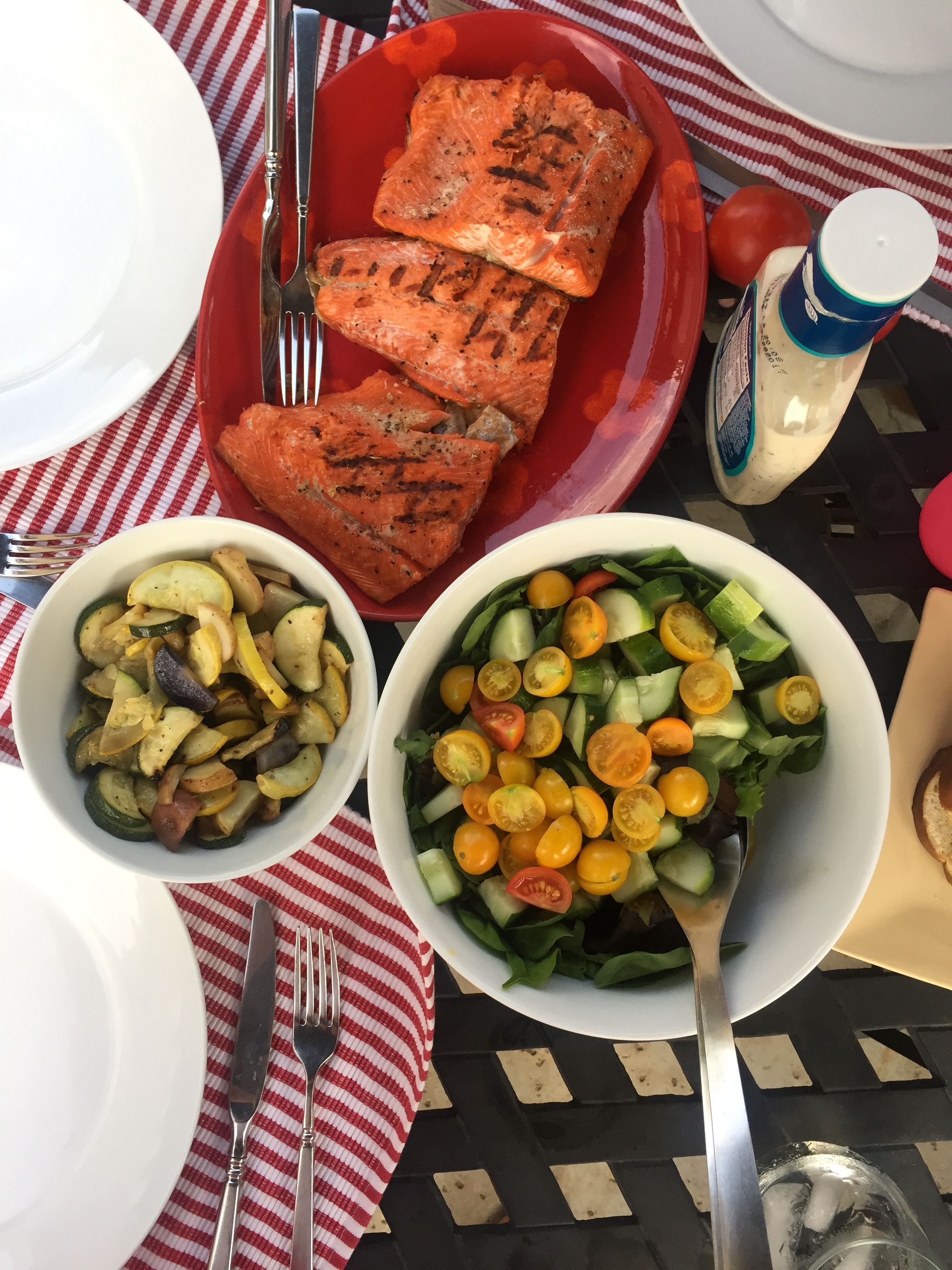 grilled salmon (long-time love of my life) + fresh salad + grilled veggies + bread & wine on the side.