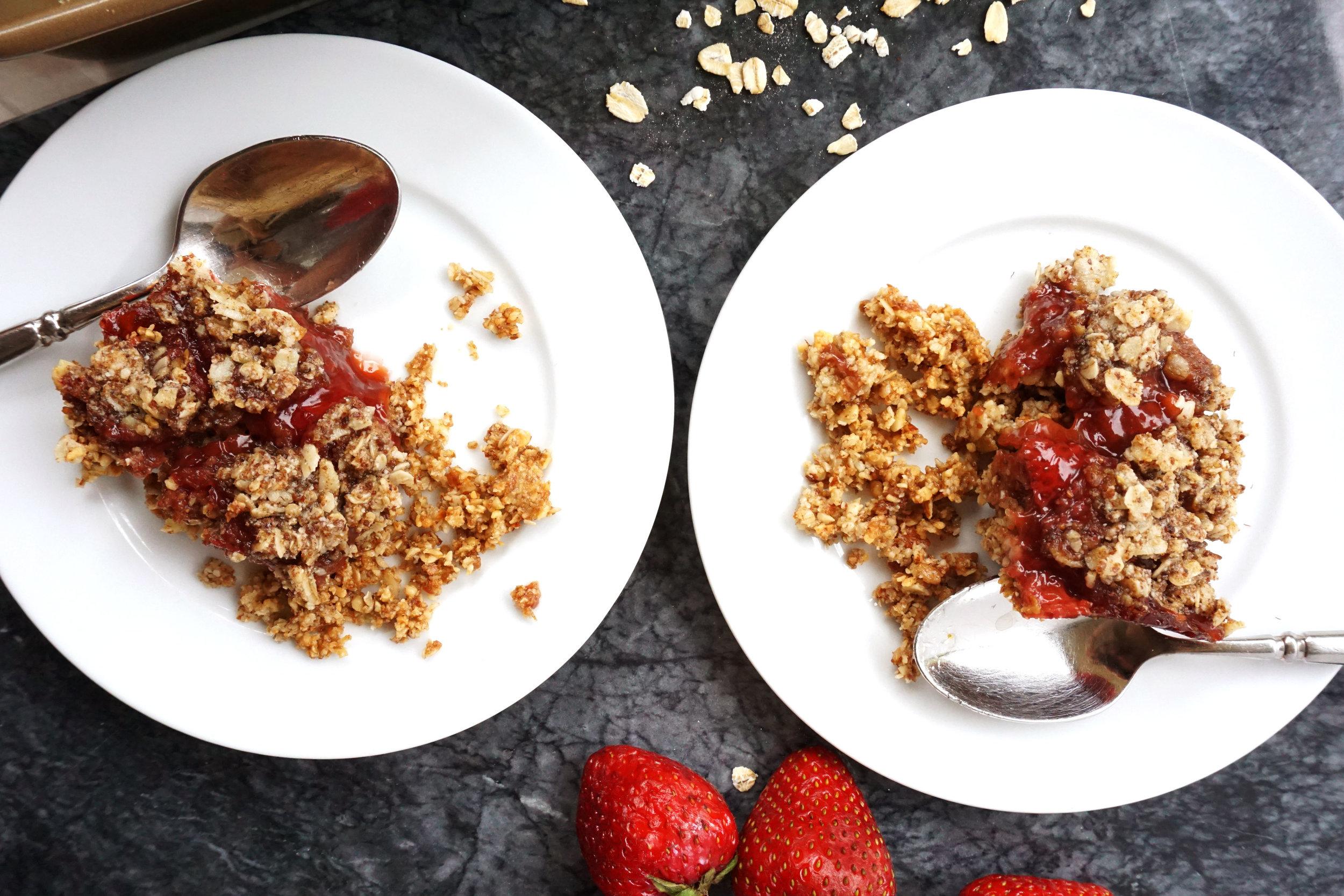 Strawberry Crumble Bars (Vegan, GF)
