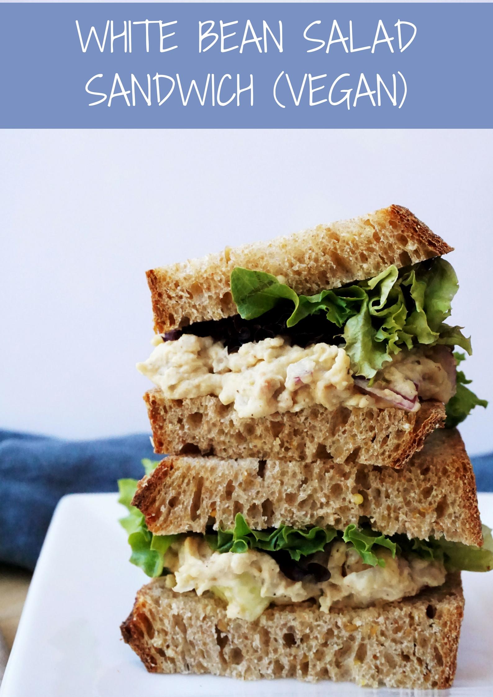 White Bean Salad Sandwich (Vegan, GF option)