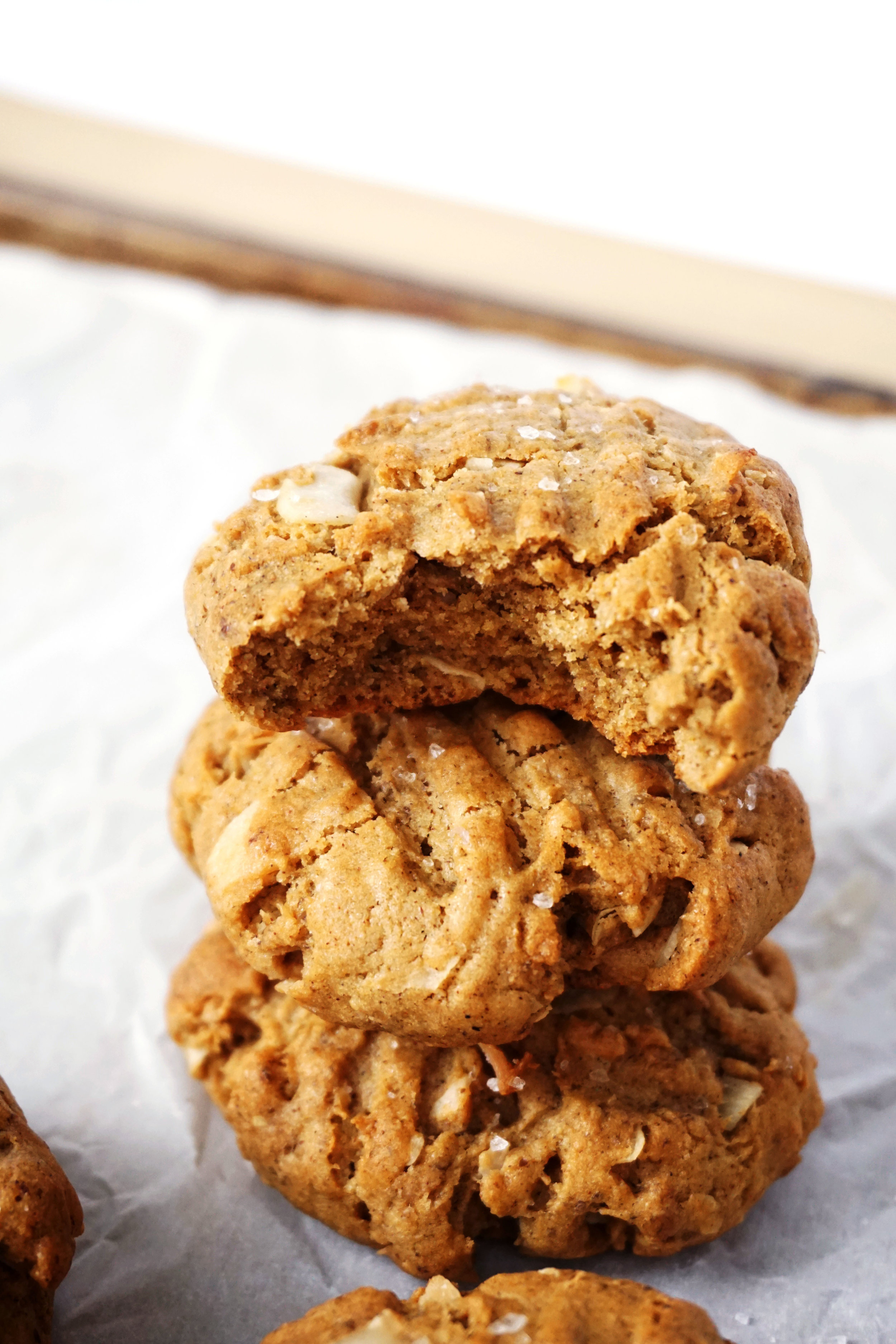 Soft Maple Cinnamon and Coconut Tahini Cookies (Vegan)
