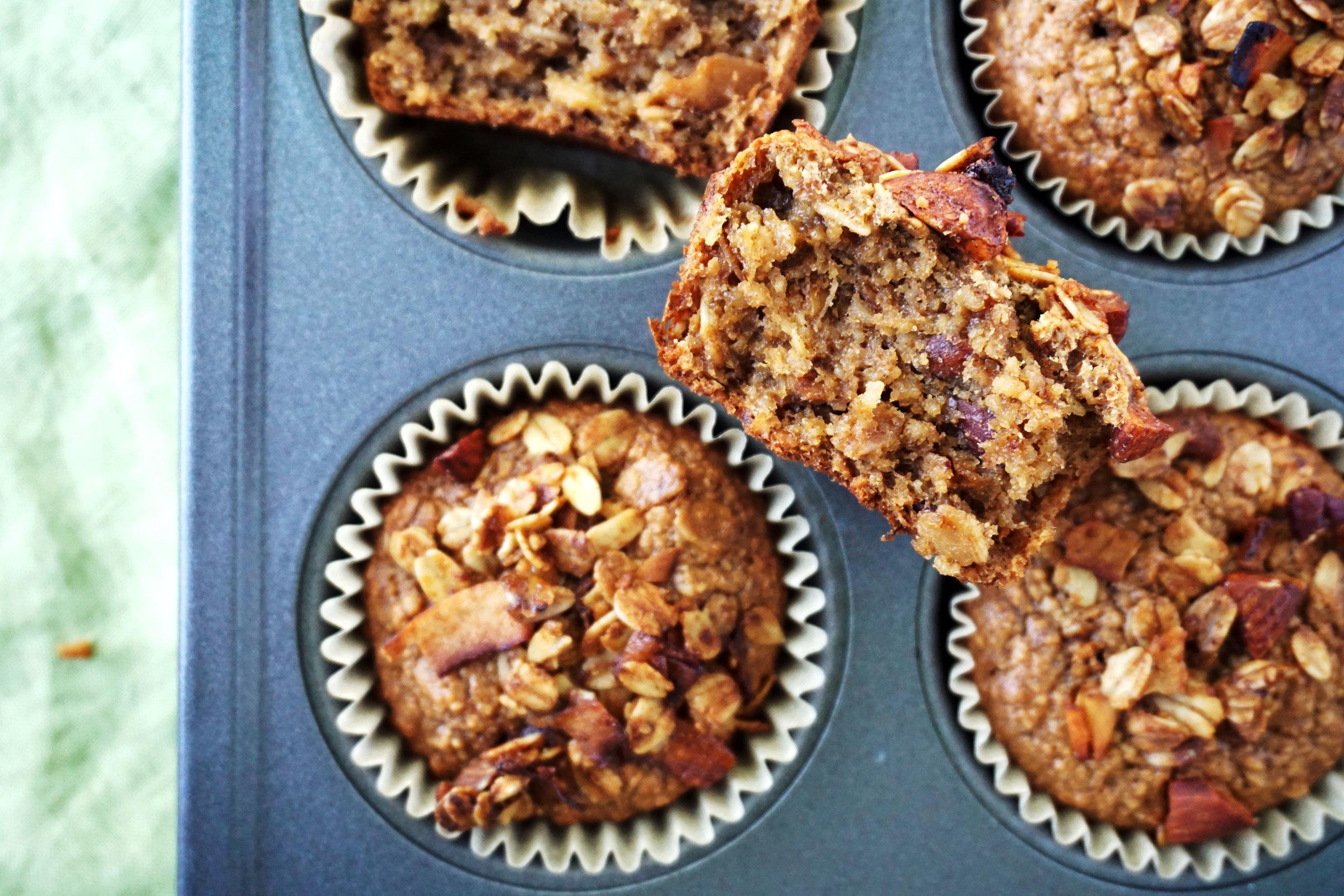 Cinnamon Tahini and Toasted Granola Muffins (Vegan, GF)
