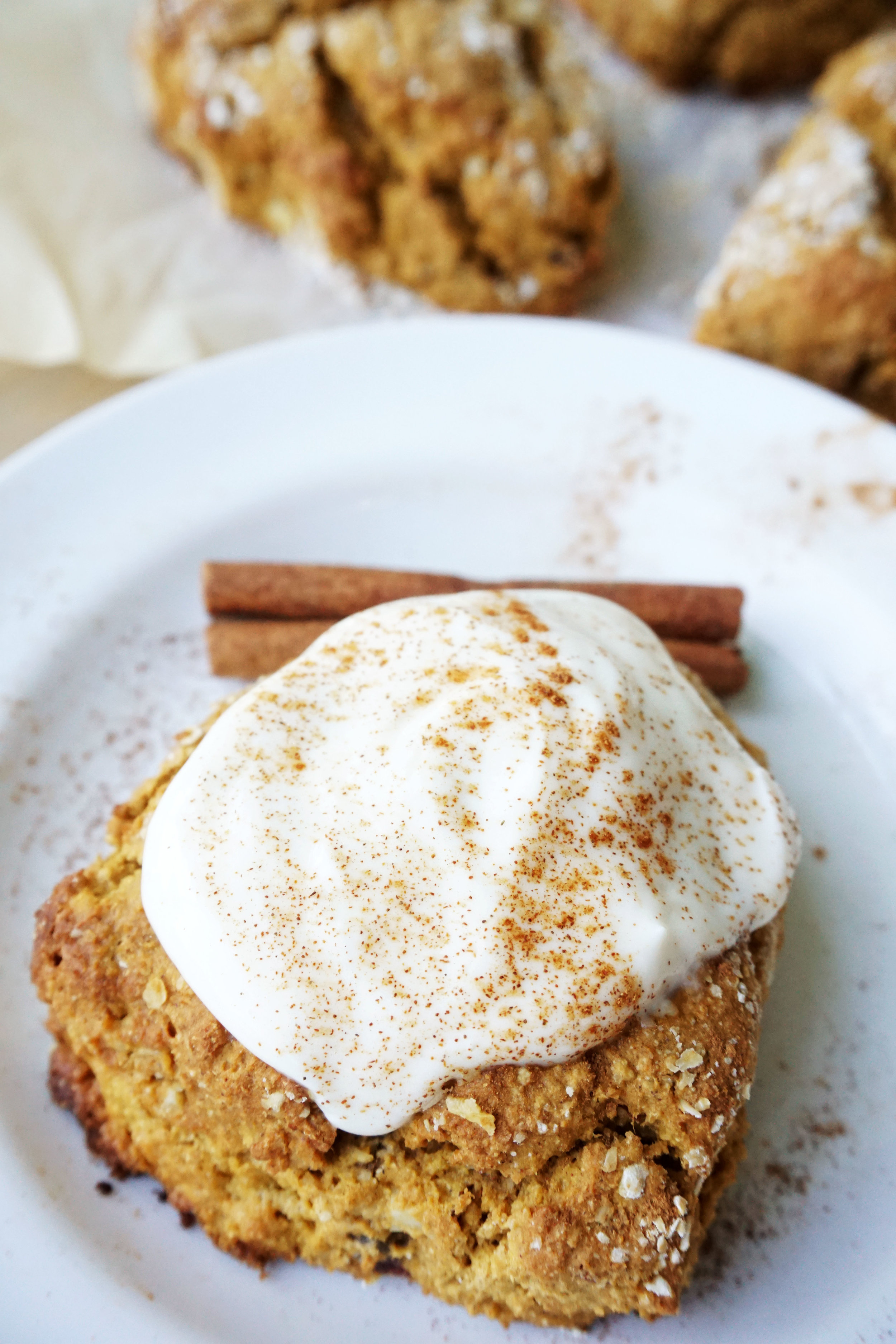 Pumpkin Almond Scones w/ Maple Yogurt Frosting (GF)