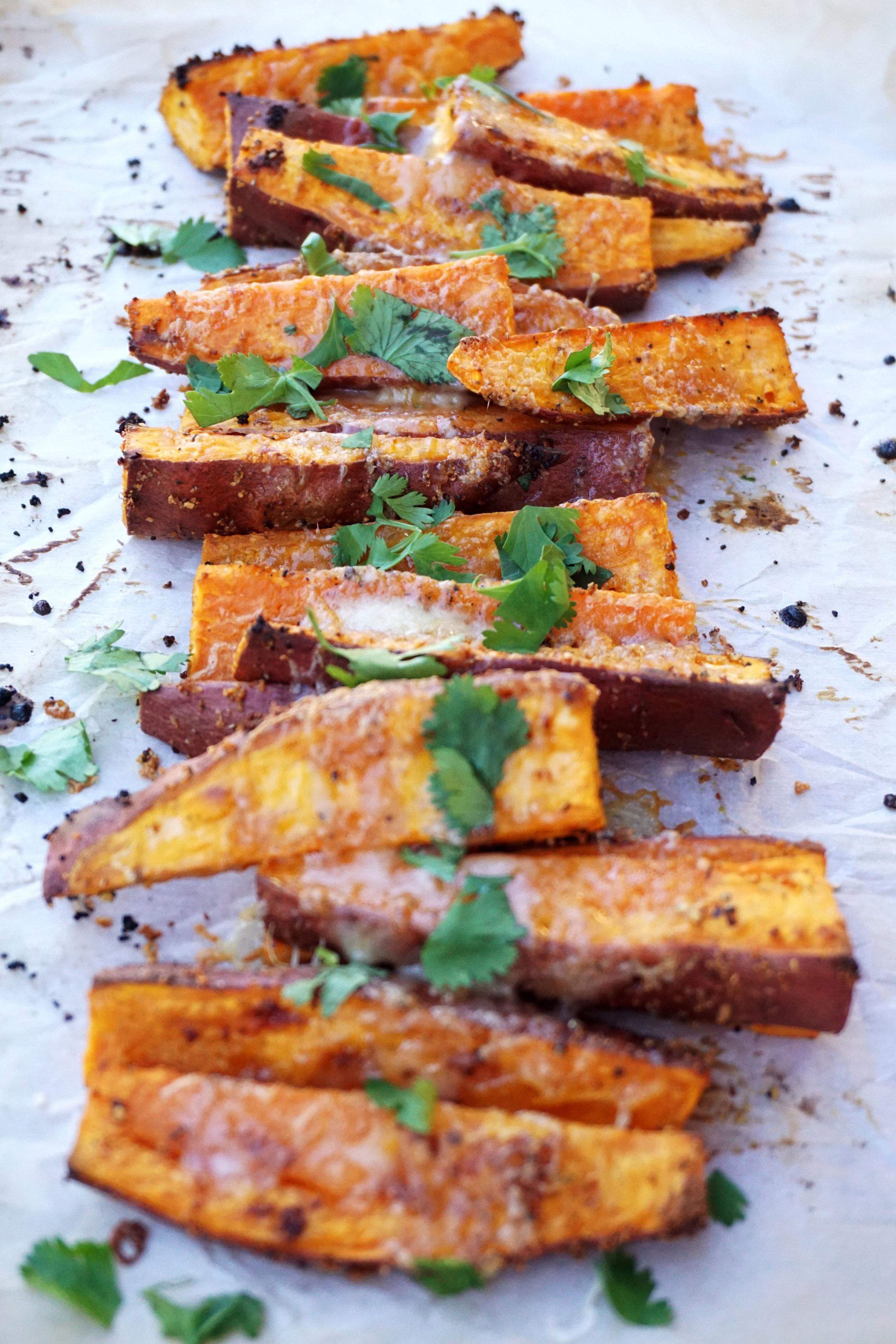 Roasted Garlic White Cheddar Sweet Potato Wedges (GF)