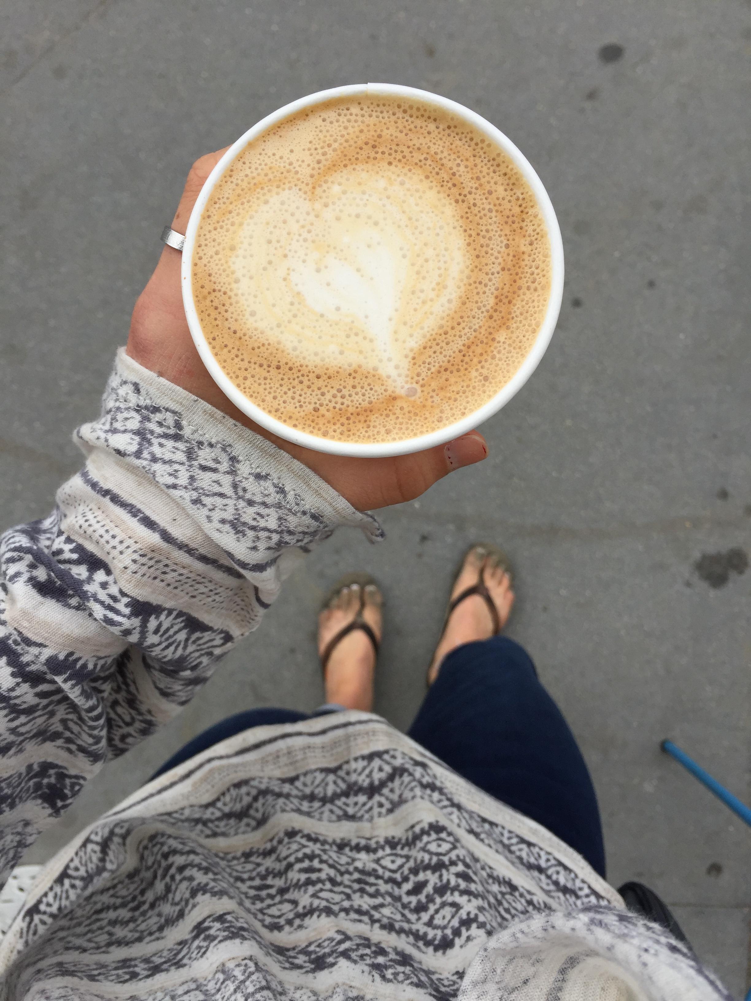 almond milk latte from  Kraken Coffee Co.  in Avila Beach.