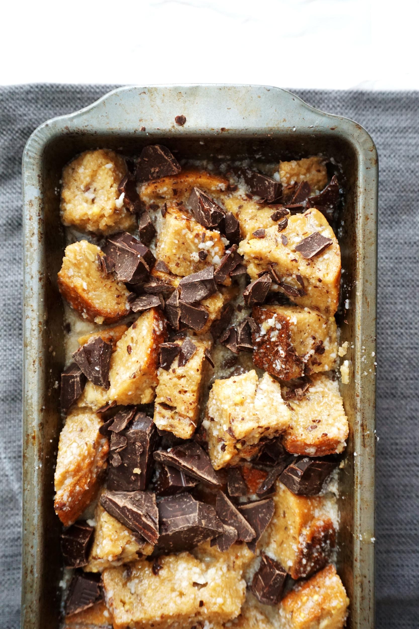 Chocolate-Chunk Whole-Grain Bread Pudding