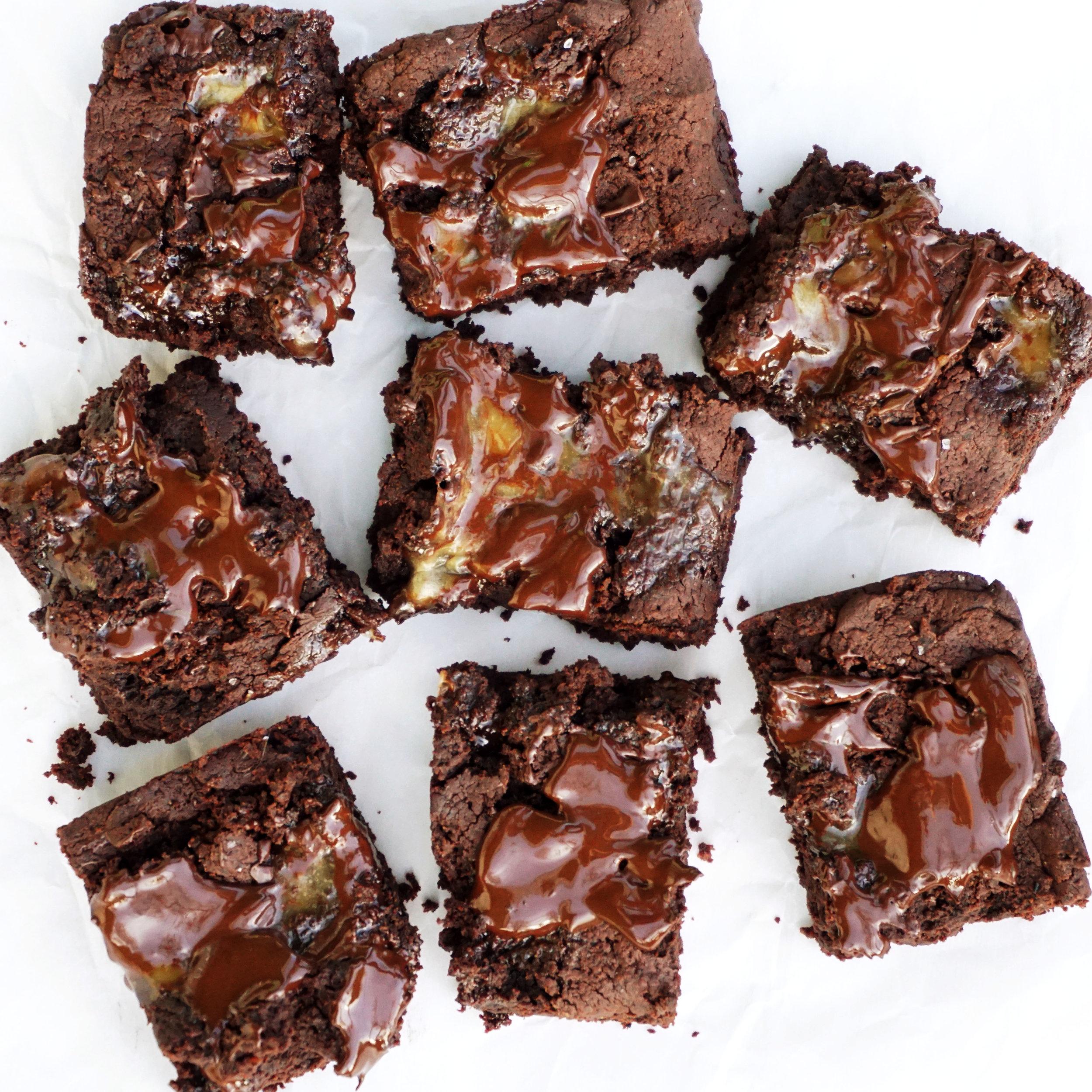 Double-Chocolate Caramel Black Bean Brownies (Vegan, GF)