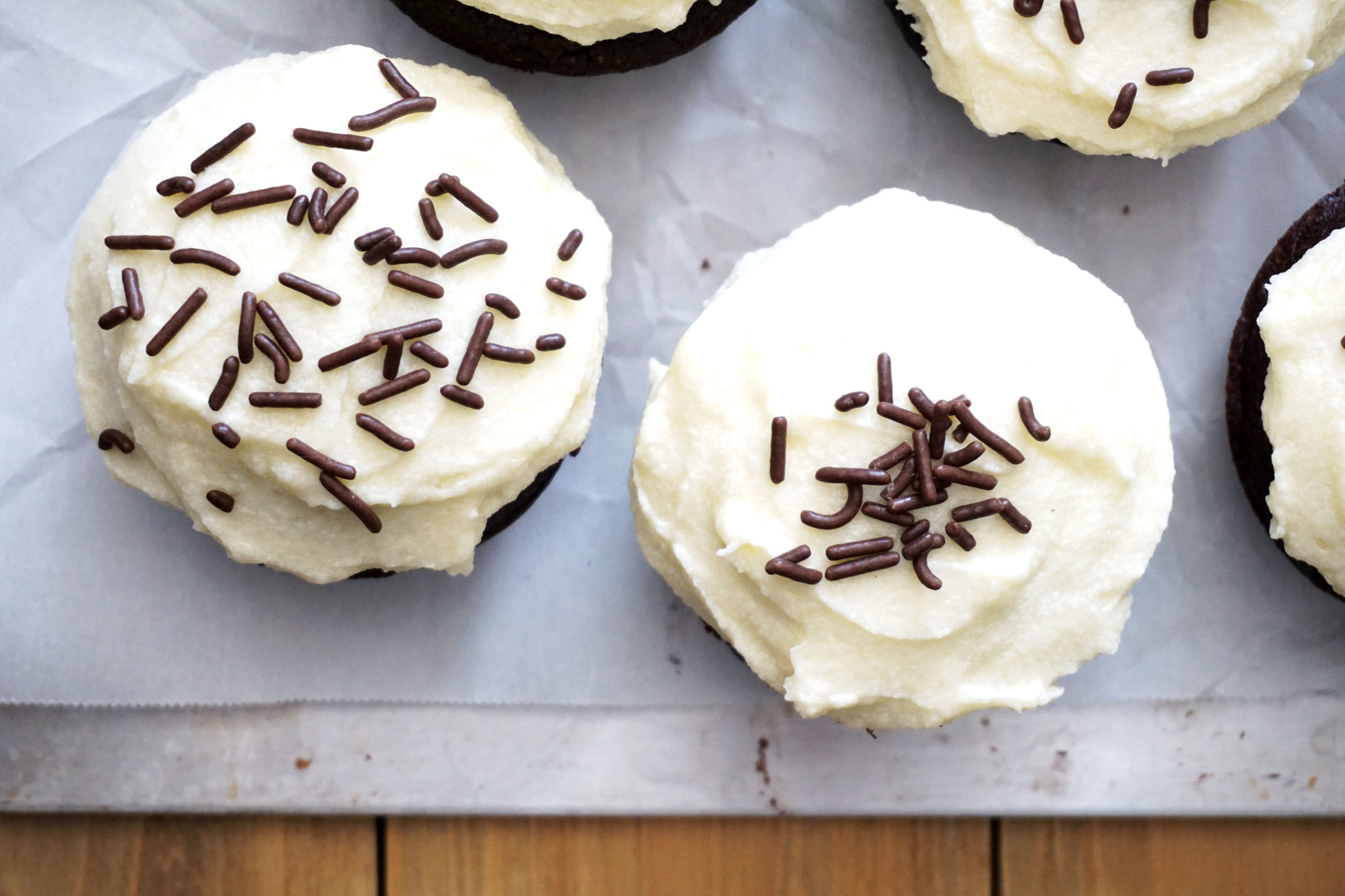 Dark Red Velvet Cupcakes with Cream Cheese Frosting (Secret Ingredient!)