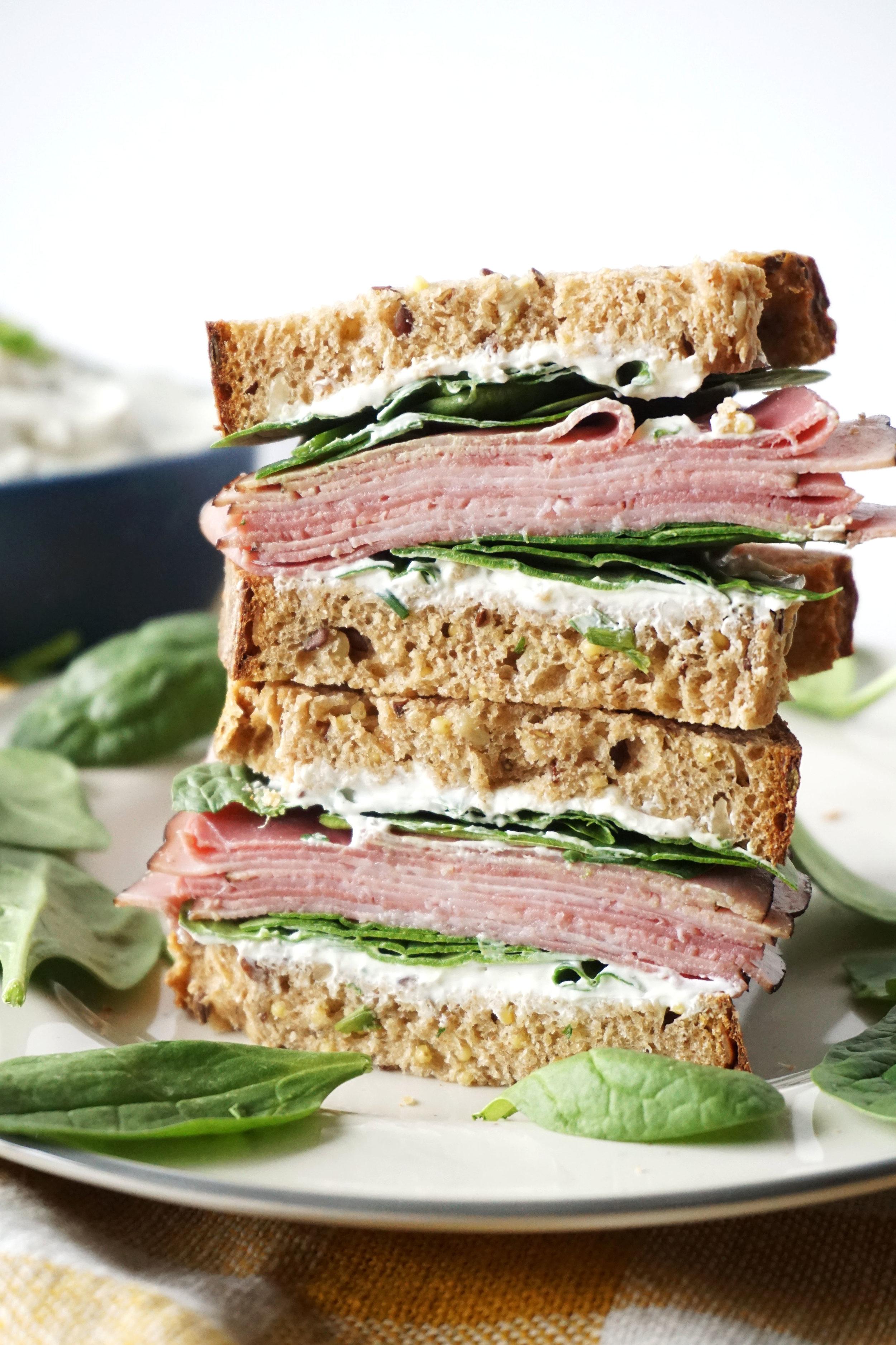 Ham and Herb Cream Cheese Sandwich