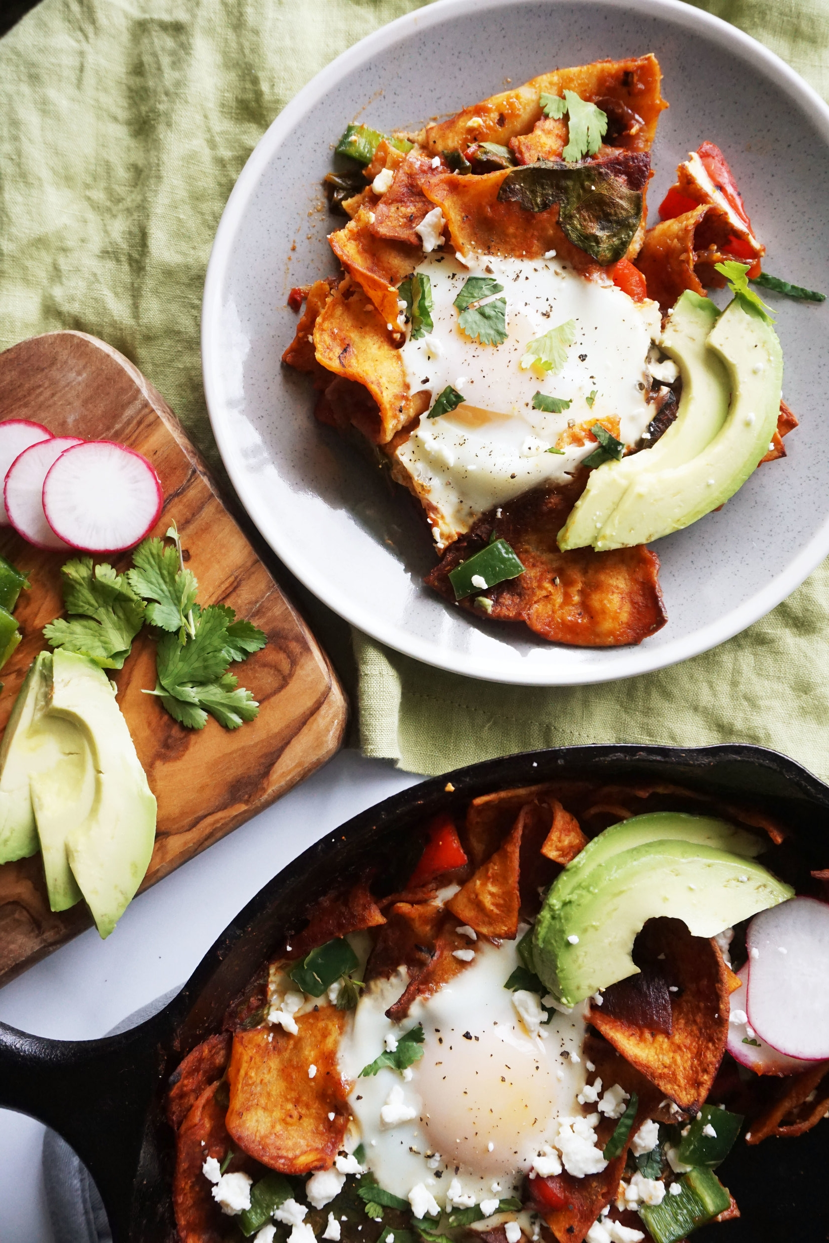 Red Pepper and Spinach Chilaquiles (GF option)