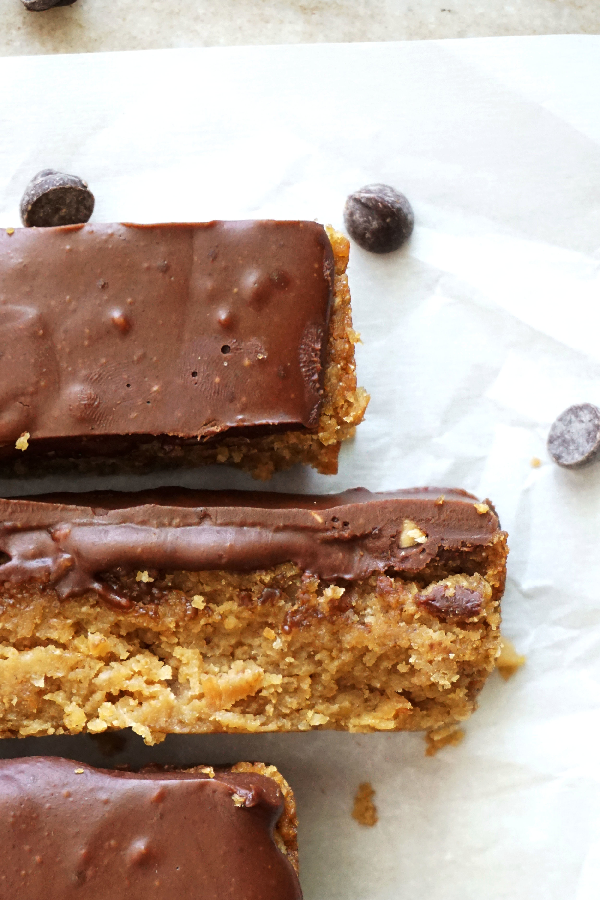 Dark Chocolate Frosted Almond Butter Chickpea Blondies (Vegan, GF)