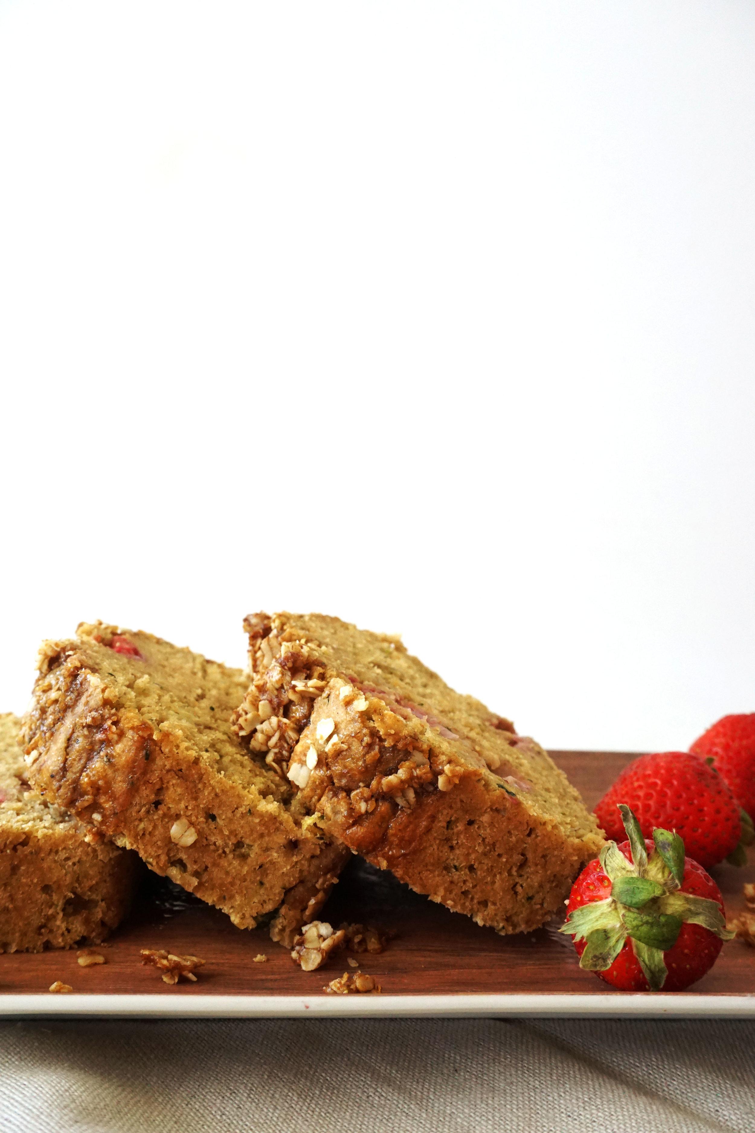 Whole-Wheat Zucchini Strawberry Crumble Bread (Dairy-free)
