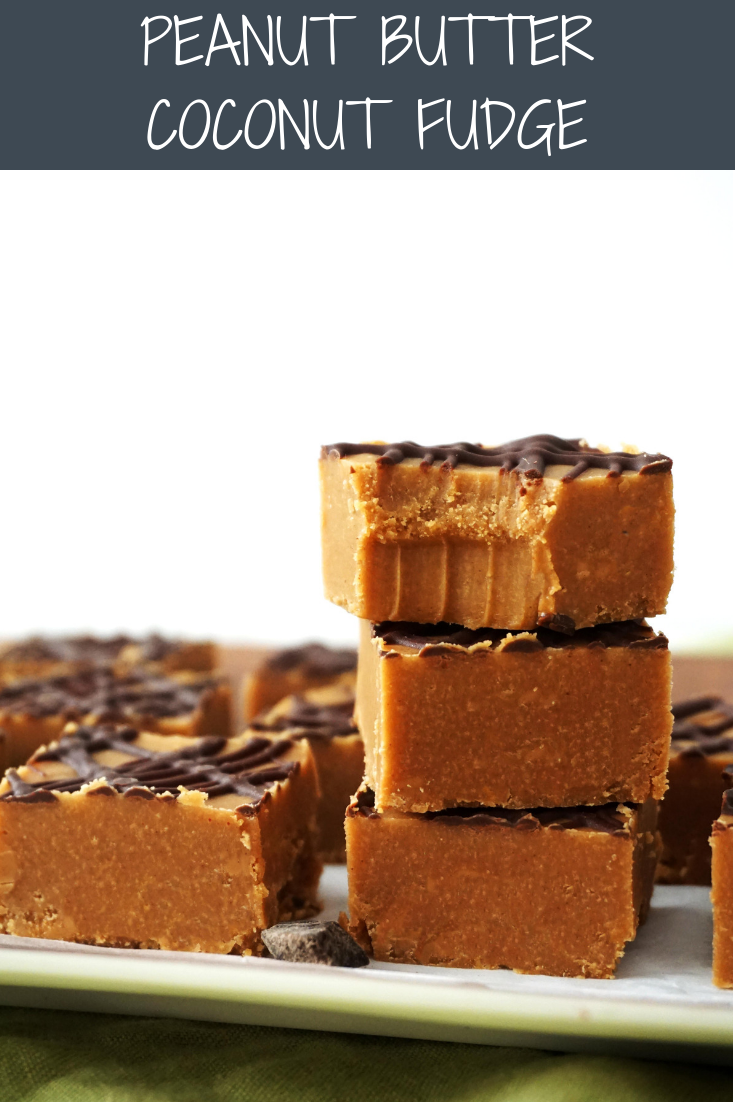 Peanut Butter Coconut Fudge (GF, Vegan option)