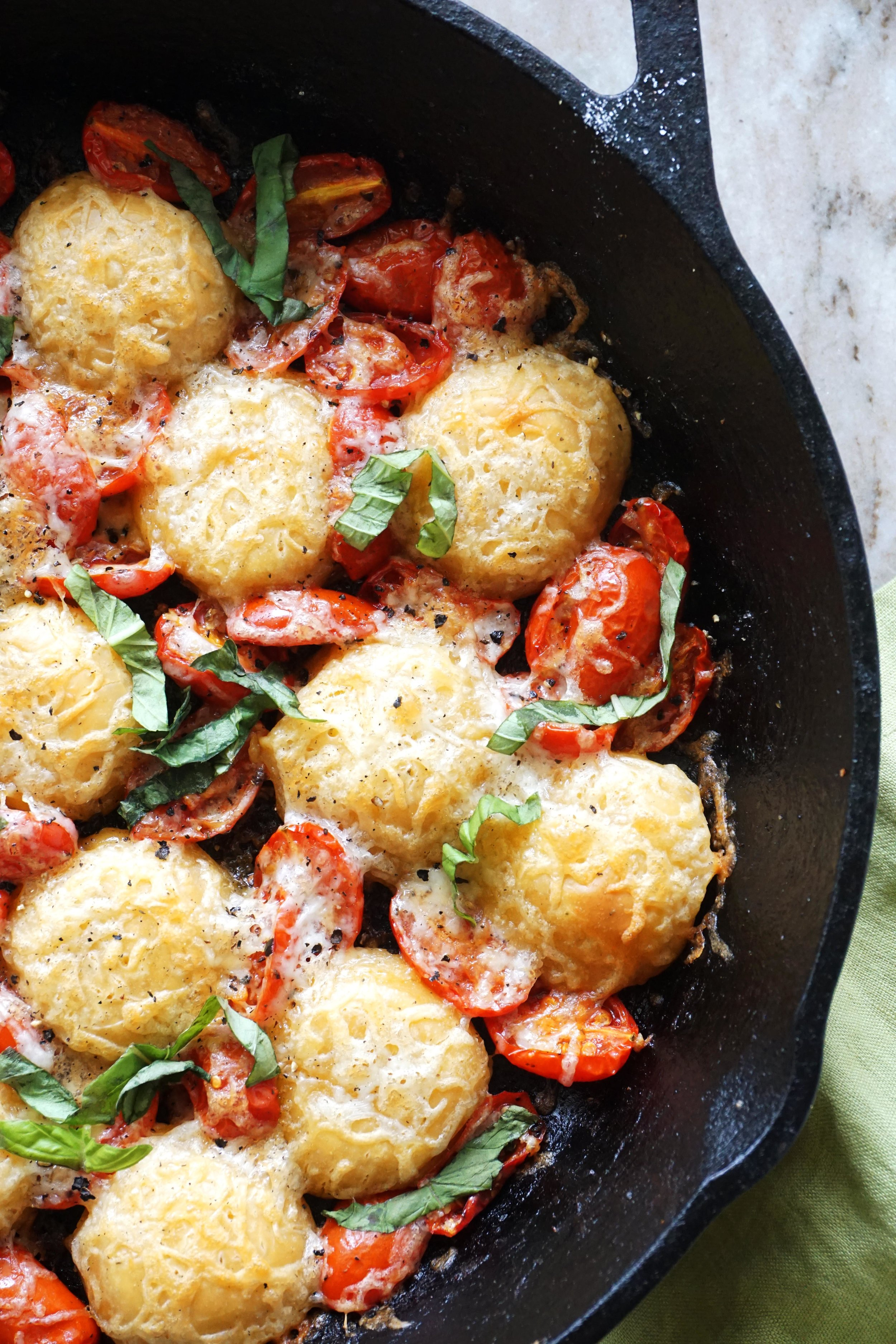 Tomato Basil Skillet Pizza Bites (GF)