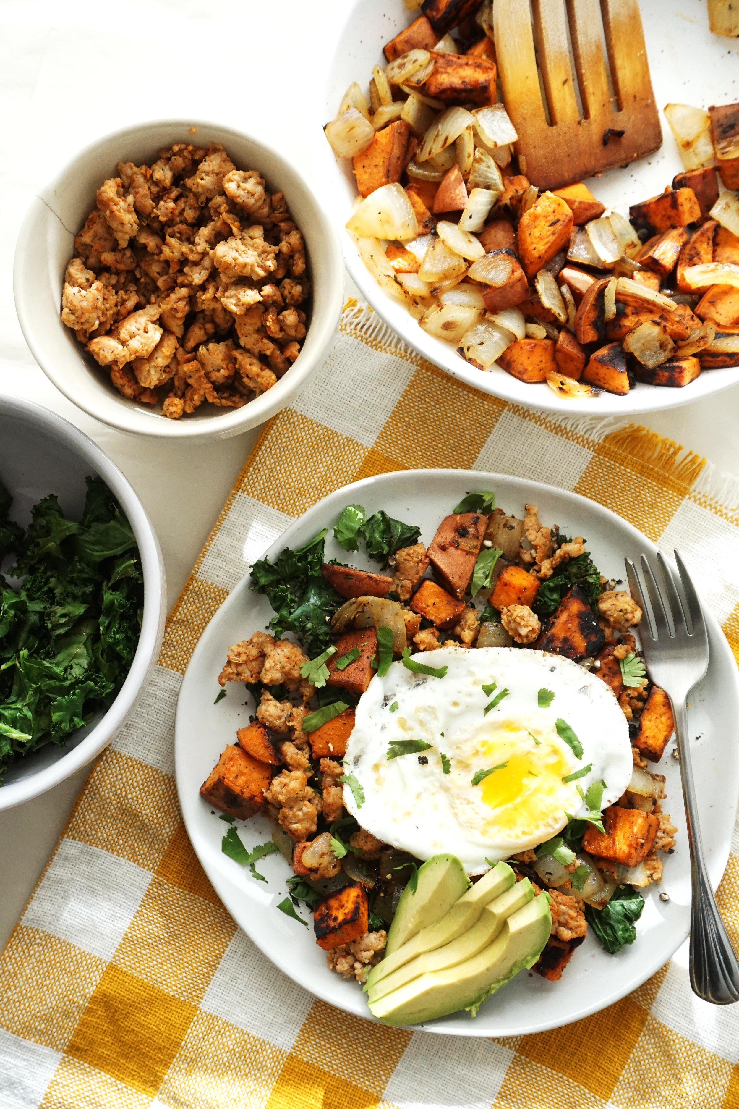 Sweet Potato, Sausage, and Kale Hash (Gluten-free, Dairy-free)