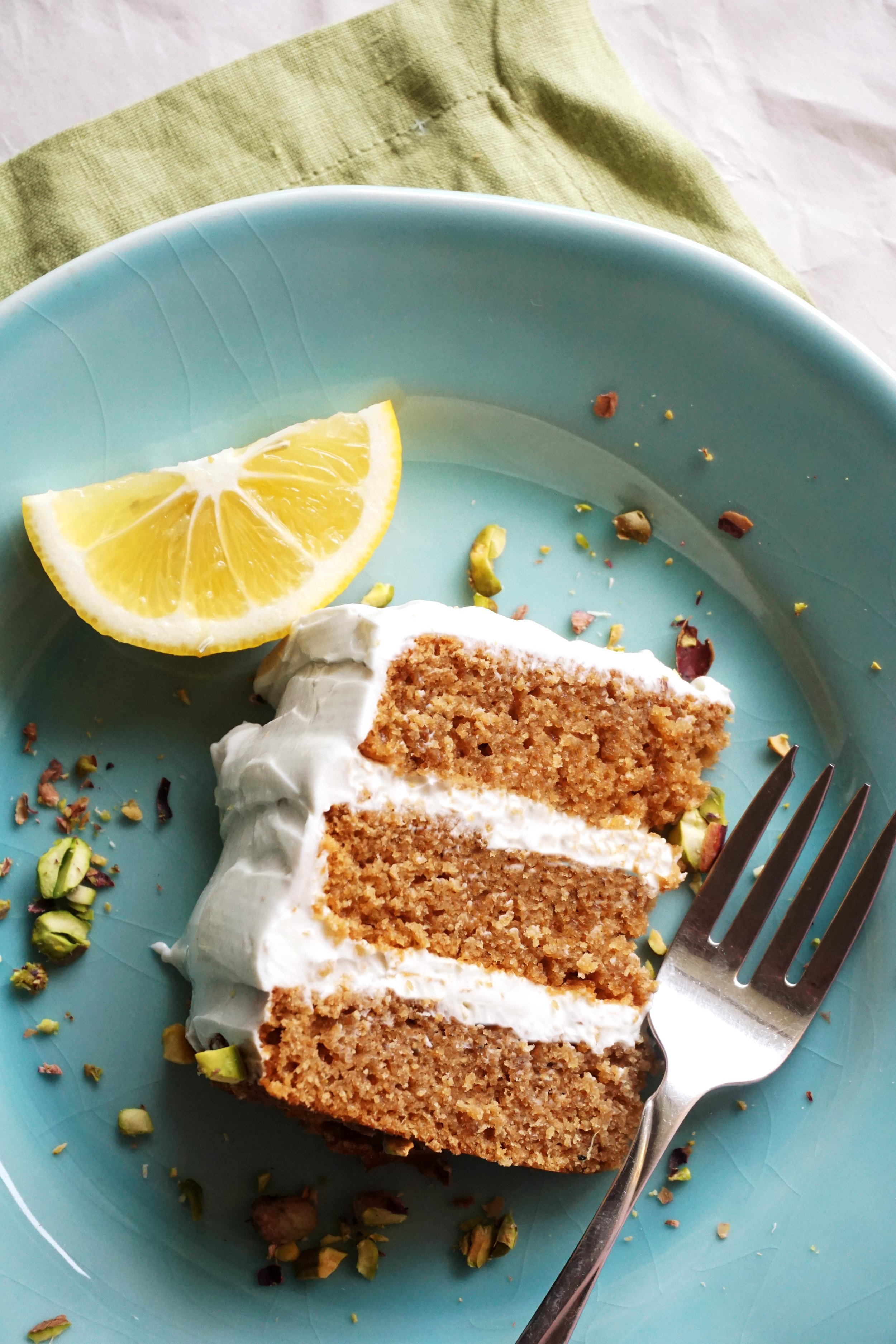Lemon Ginger Pistachio Cake with Greek Yogurt Cream Cheese Frosting