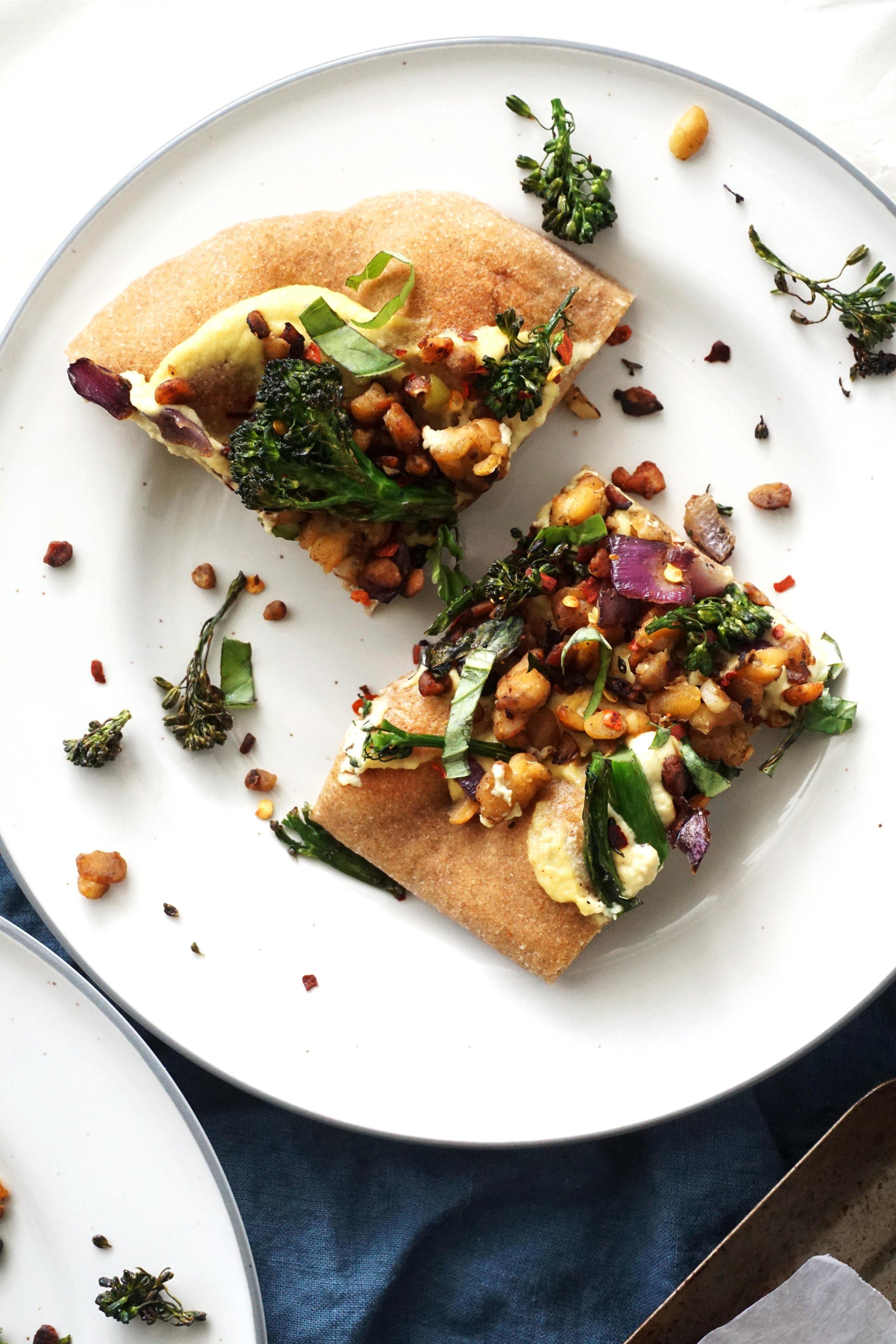 "Crispy Broccolini and ""Sausage"" White Pizza (Vegan)"