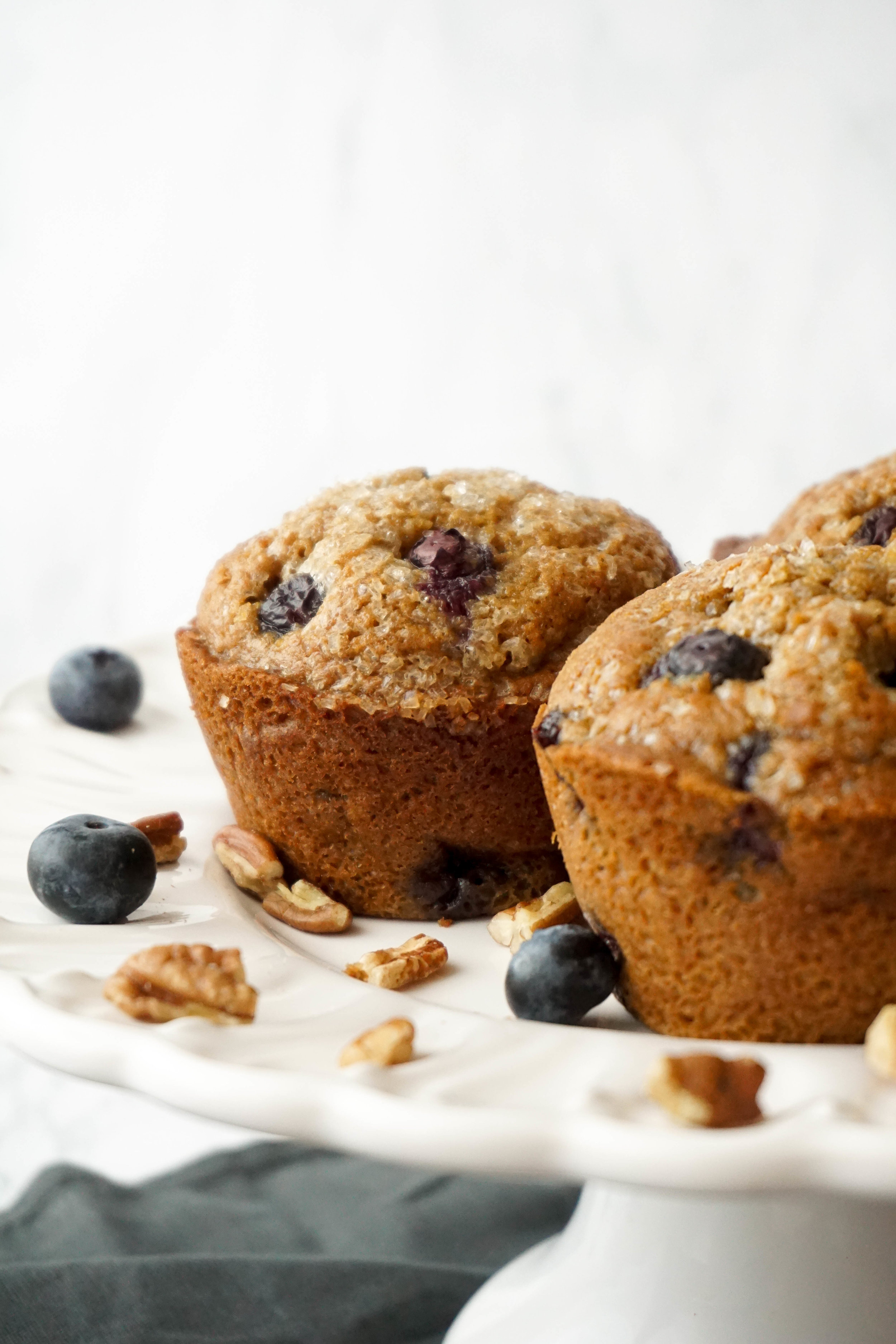 Whole-Wheat Bakery-Style Blueberry Pecan Muffins