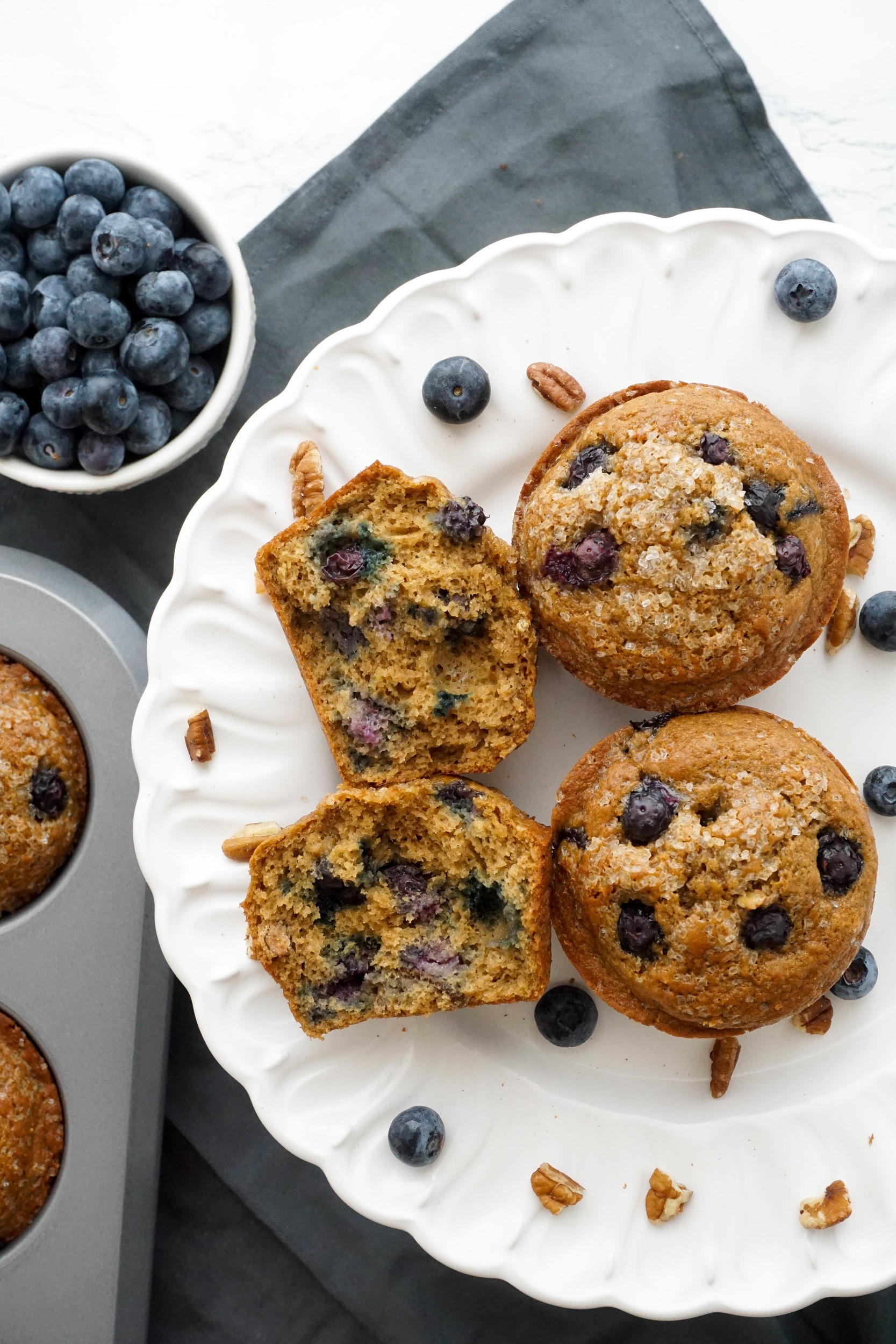 Whole-Wheat+Bakery-Style+Blueberry+Pecan+Muffins