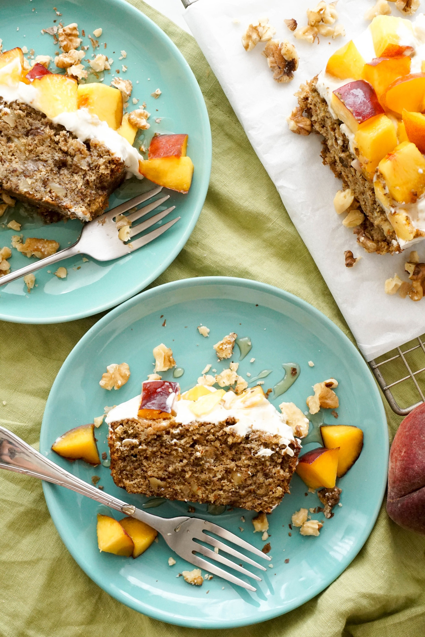 Brown Butter Banana Nut Bread with Peaches & Cream Cheese Frosting (GF)