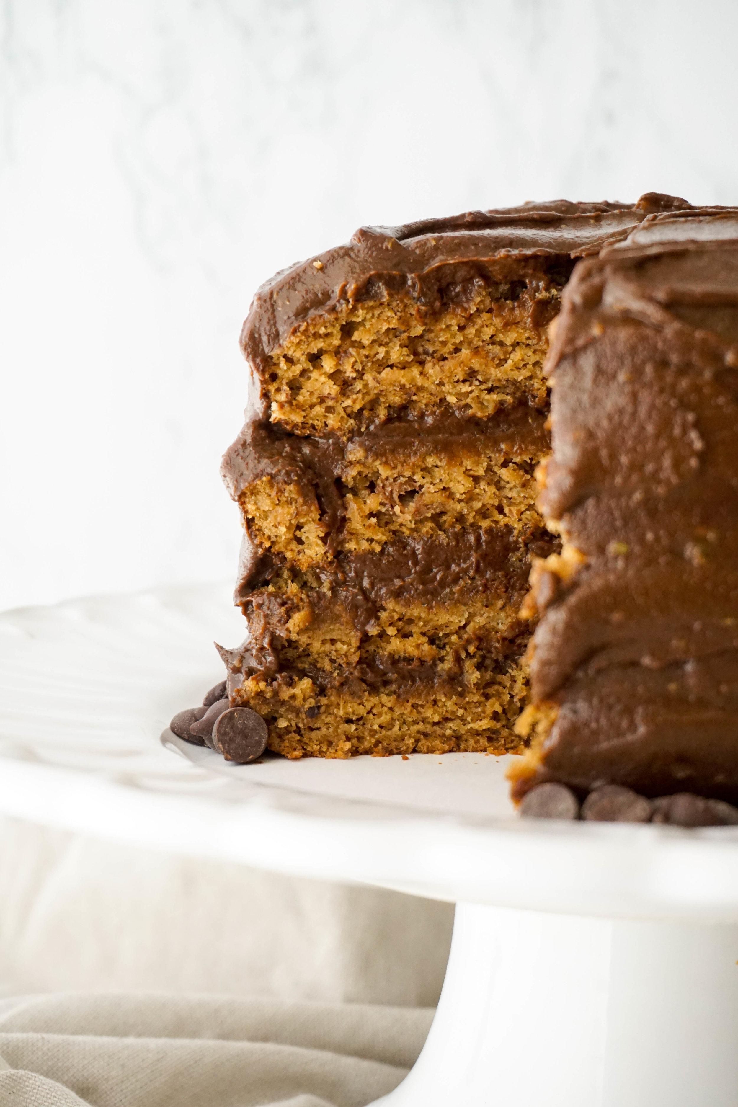 Vegan Banana Cake with Dark Chocolate Ganache