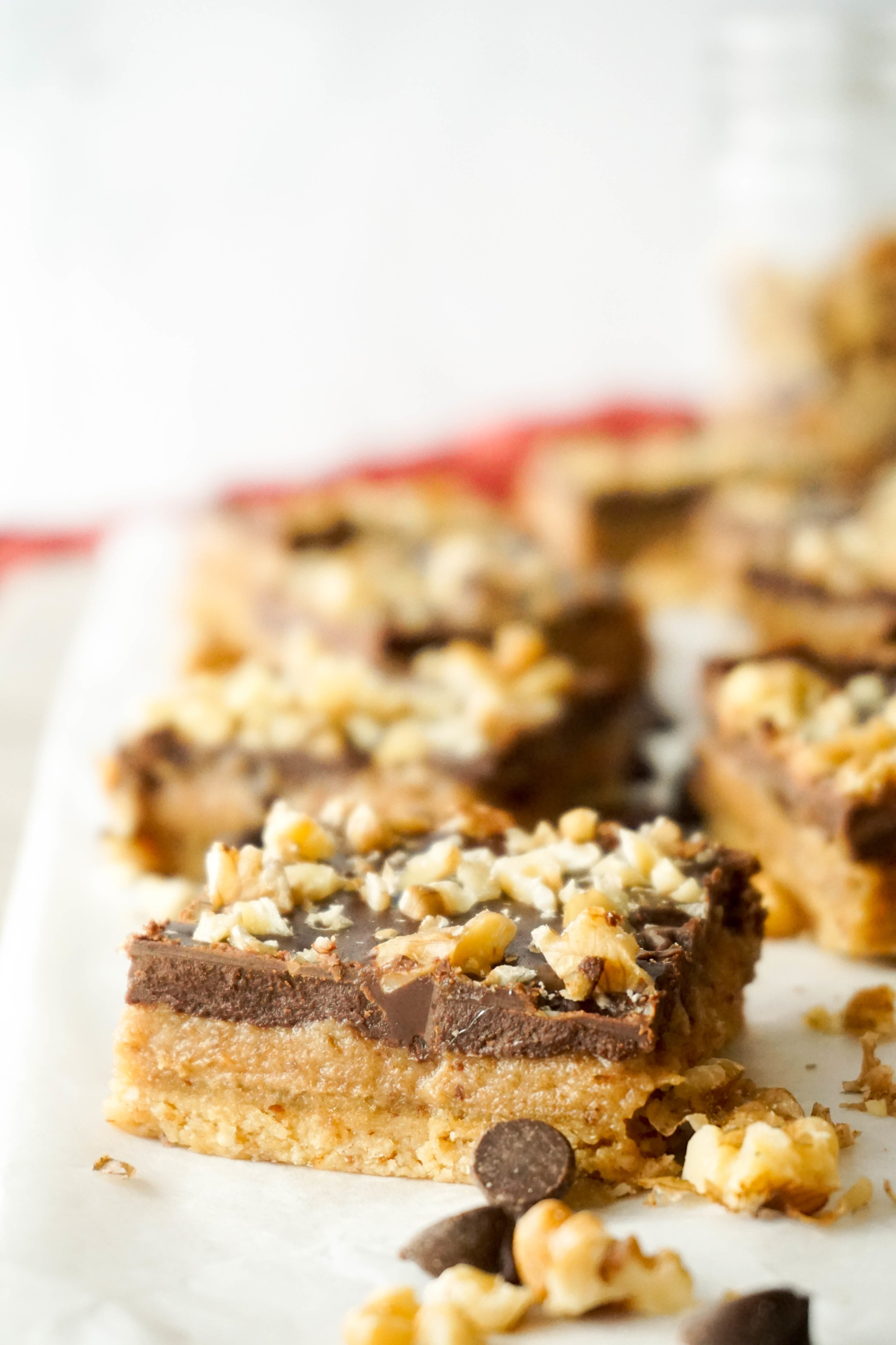Salted Tahini Caramel Walnut Bars (GF, V)