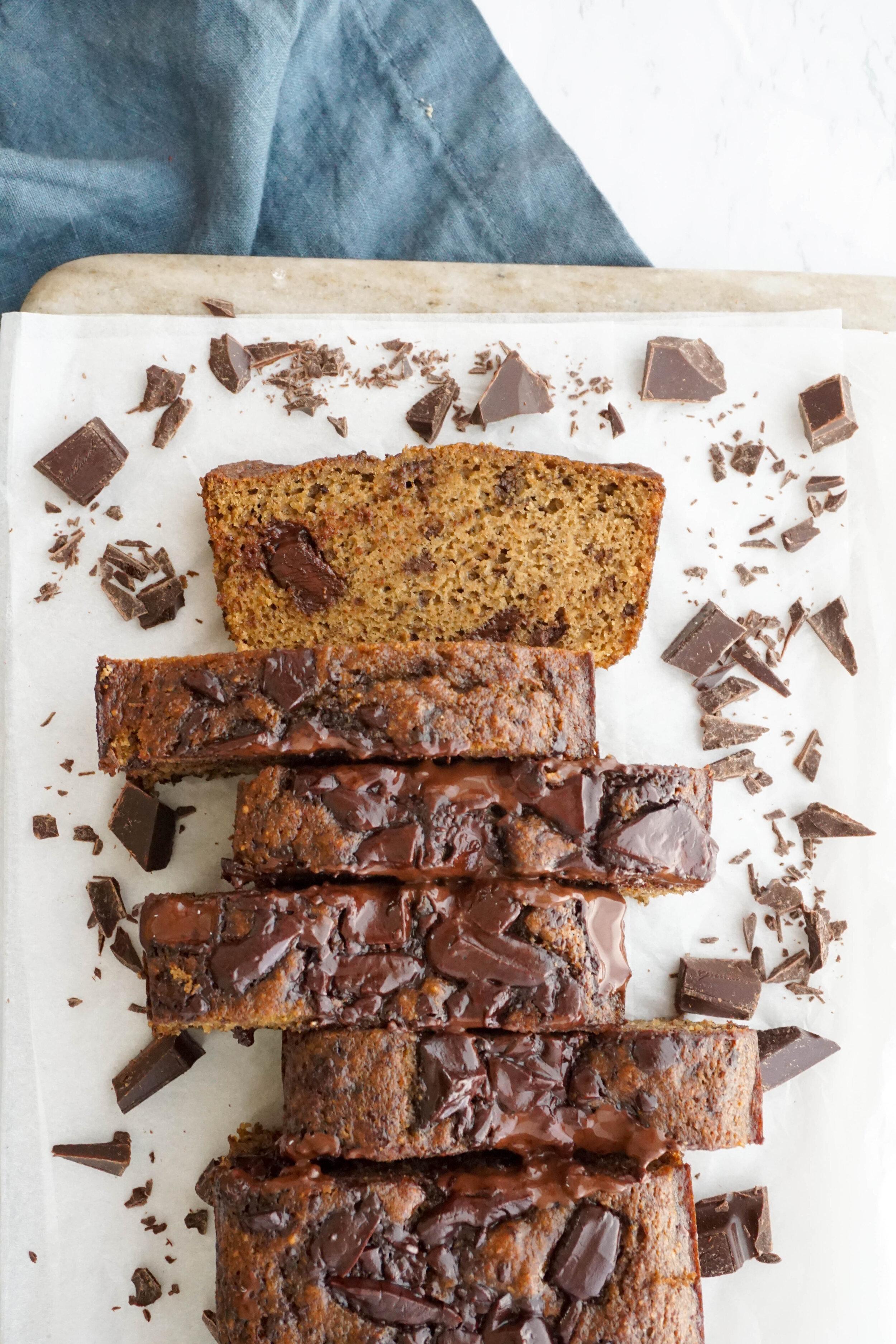 Vanilla Almond Chocolate Chip Banana Bread (Grain-free, Dairy-free)