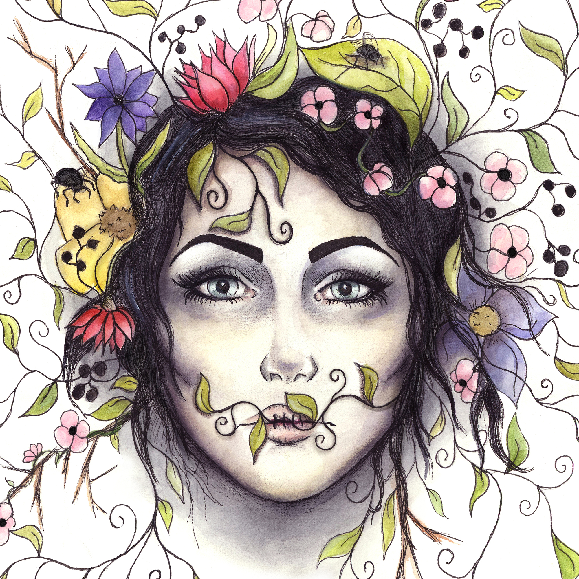 Nature Portrait: Watercolor, ink, and digital media.