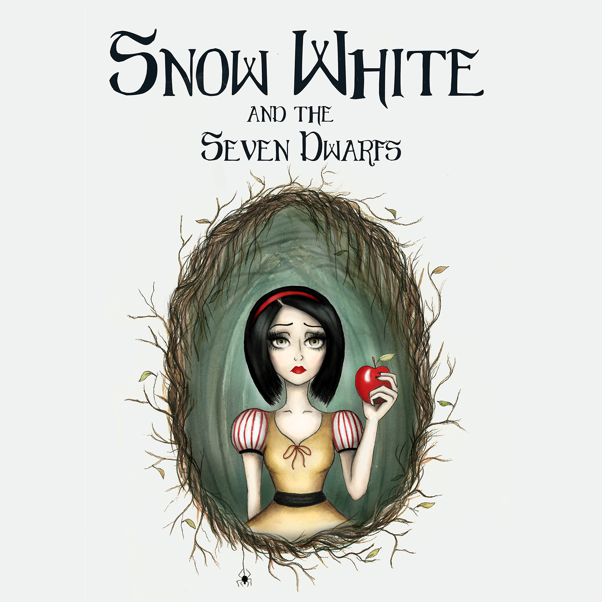 Snow White Book Cover: Book cover recreation of Snow White. Watercolor, ink, and digital media.