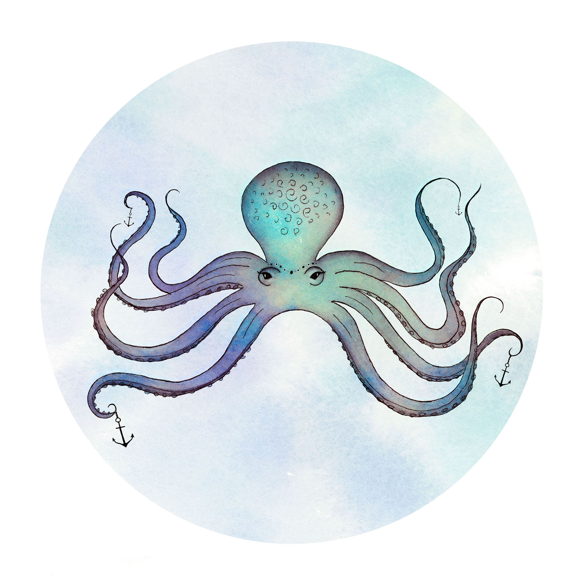 Sea Creatures Series: Octopus, Seahorses, and Jellyfish. Watercolor, ink, and digital media.
