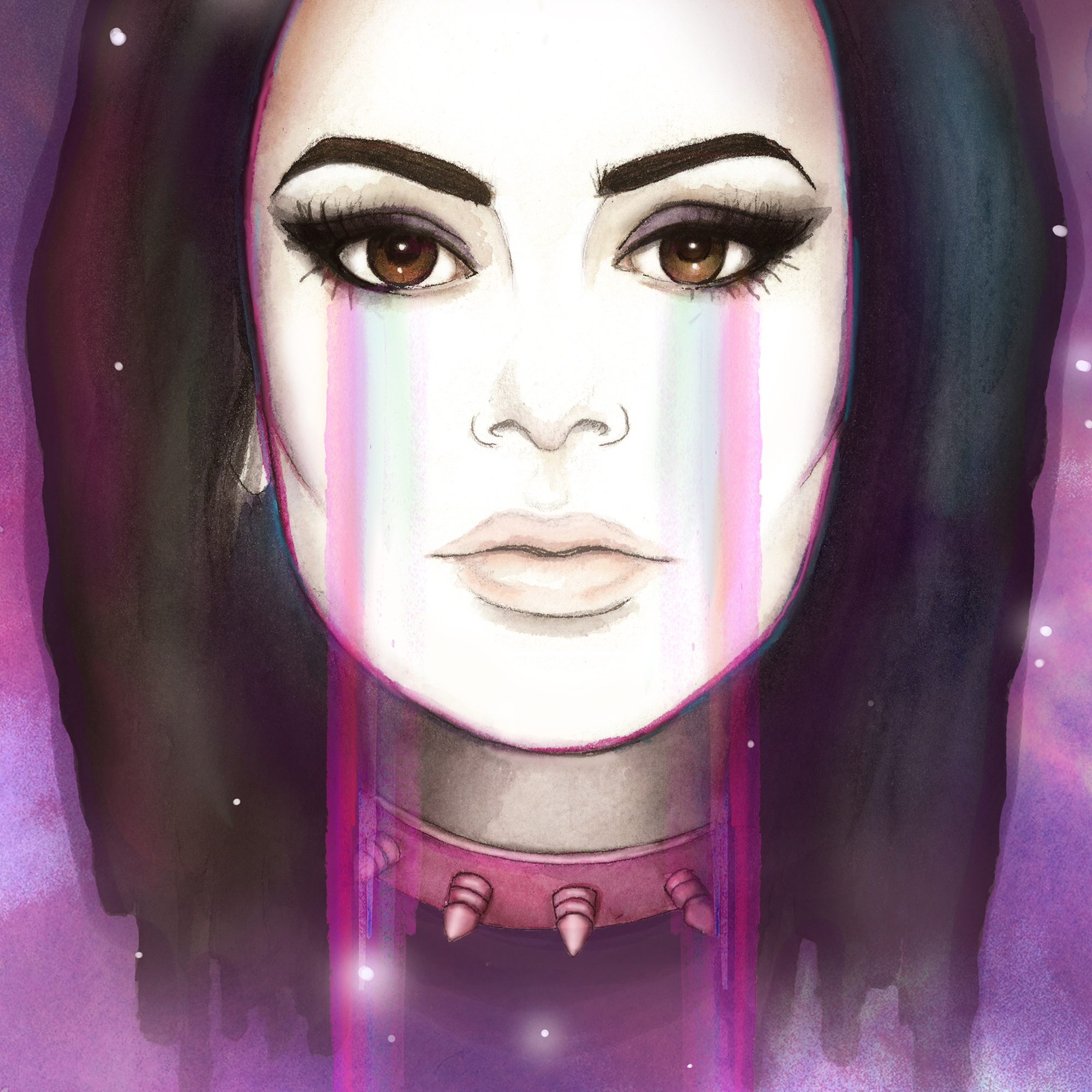 Charli XCX Poster: Promotional poster of musician Charli XCX. Watercolor, micron pens, and digital media.