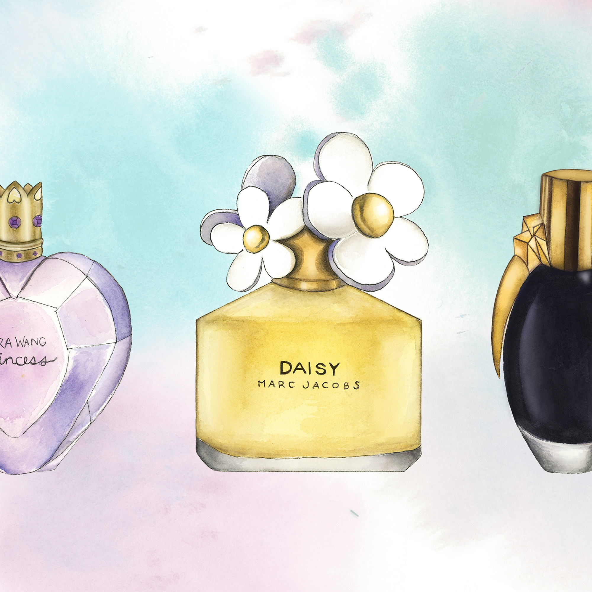 Perfumes: Spot Illustrations of fragrances. Watercolor, Ink, and digital media.