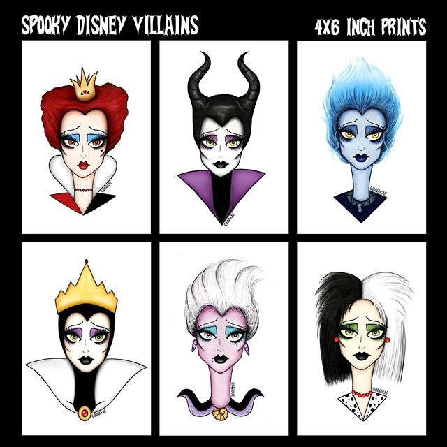 Happy Wednesday! Just added some new stuff on my shop 🔮🔮🔮 Disney Villains prints are now available & there are only limited amounts of these so once they're gone they're gone!  Each print is 4x6 inches and you can buy them individually or the whole set ✨ Grab yours now if you want one! Shop link in my bio 🖤✨ #ginnakaeillustration